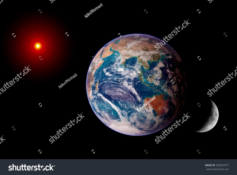 Earth Sun Moon Isolated Solar System Stock Photo 303057977 ...