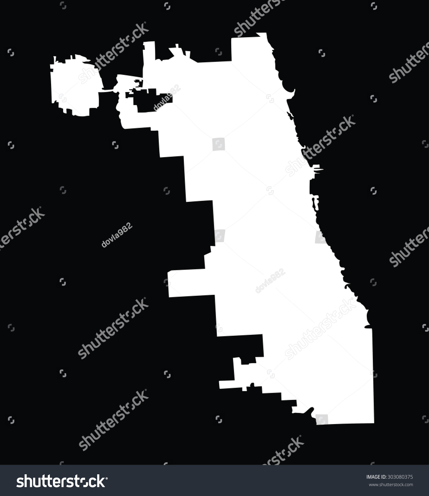 Chicago City map silhouette white vector map