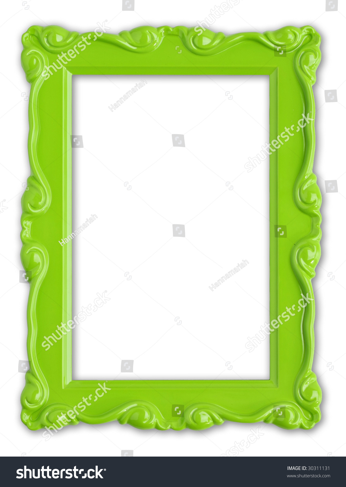 pretty green picture frame  stock photo 30311131