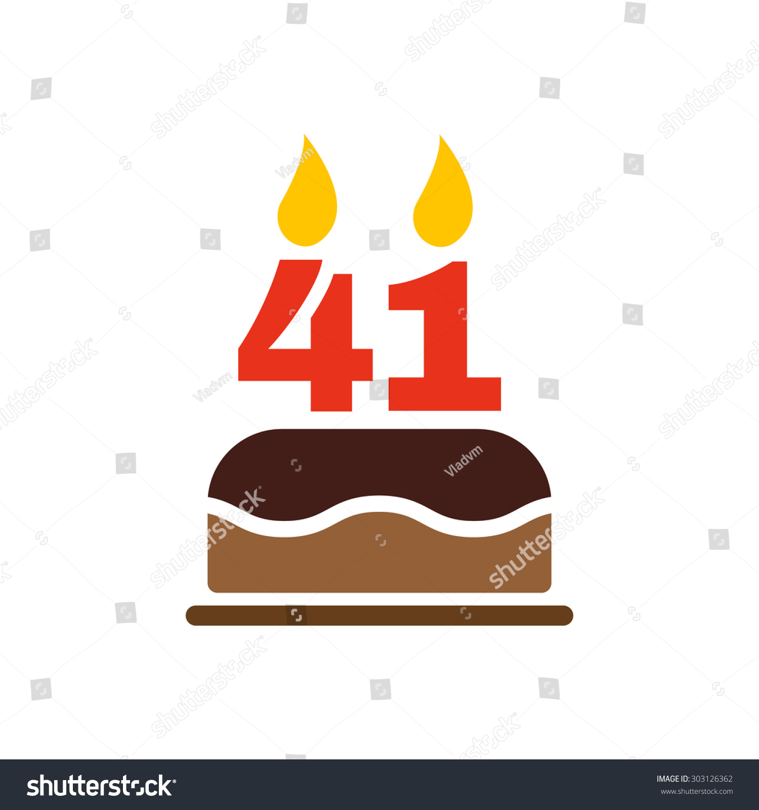 Birthday Cake Candles Form Number 41 Stock Vector