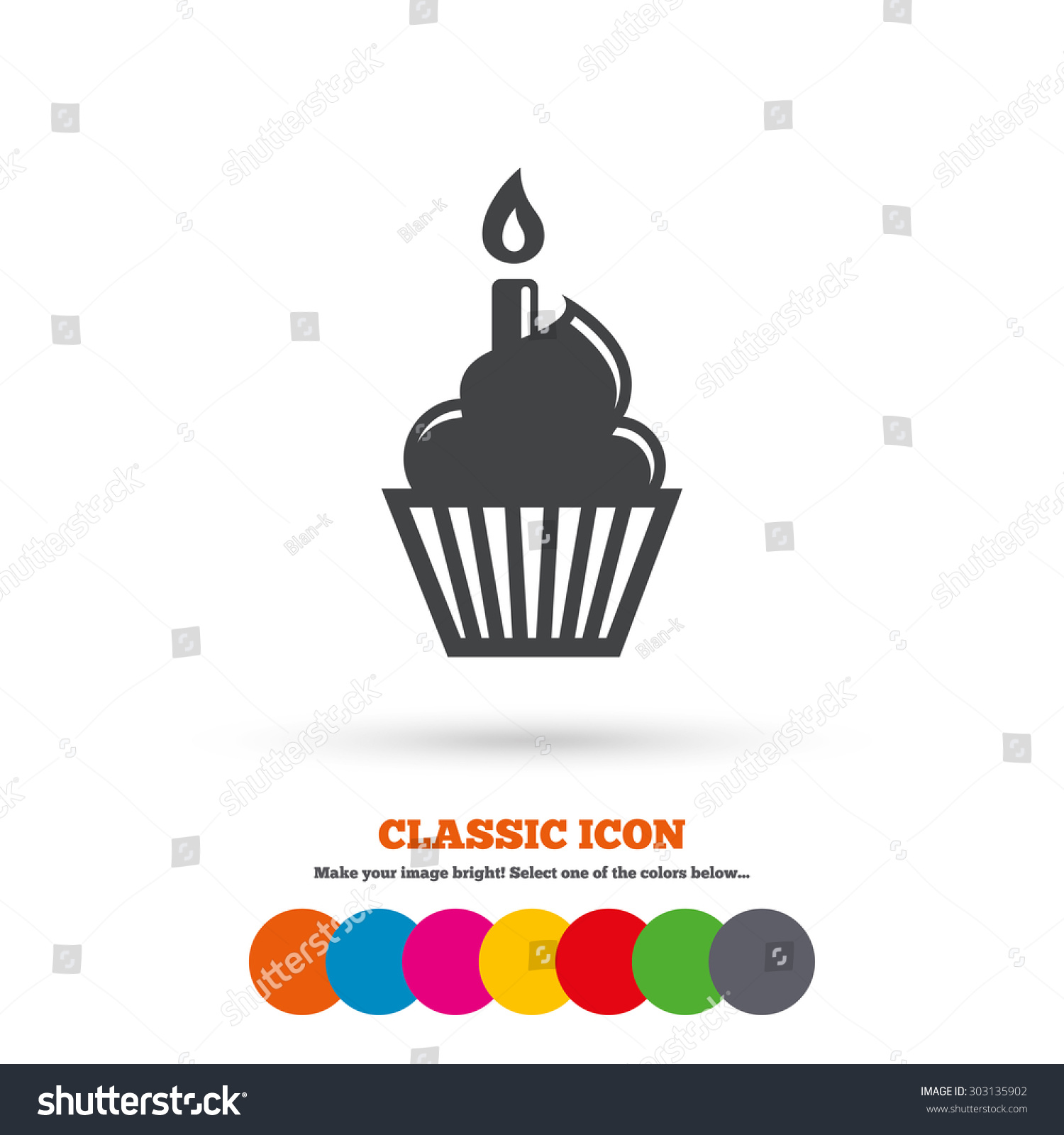 Birthday cake sign icon. Cupcake with burning candle symbol. Classic ...