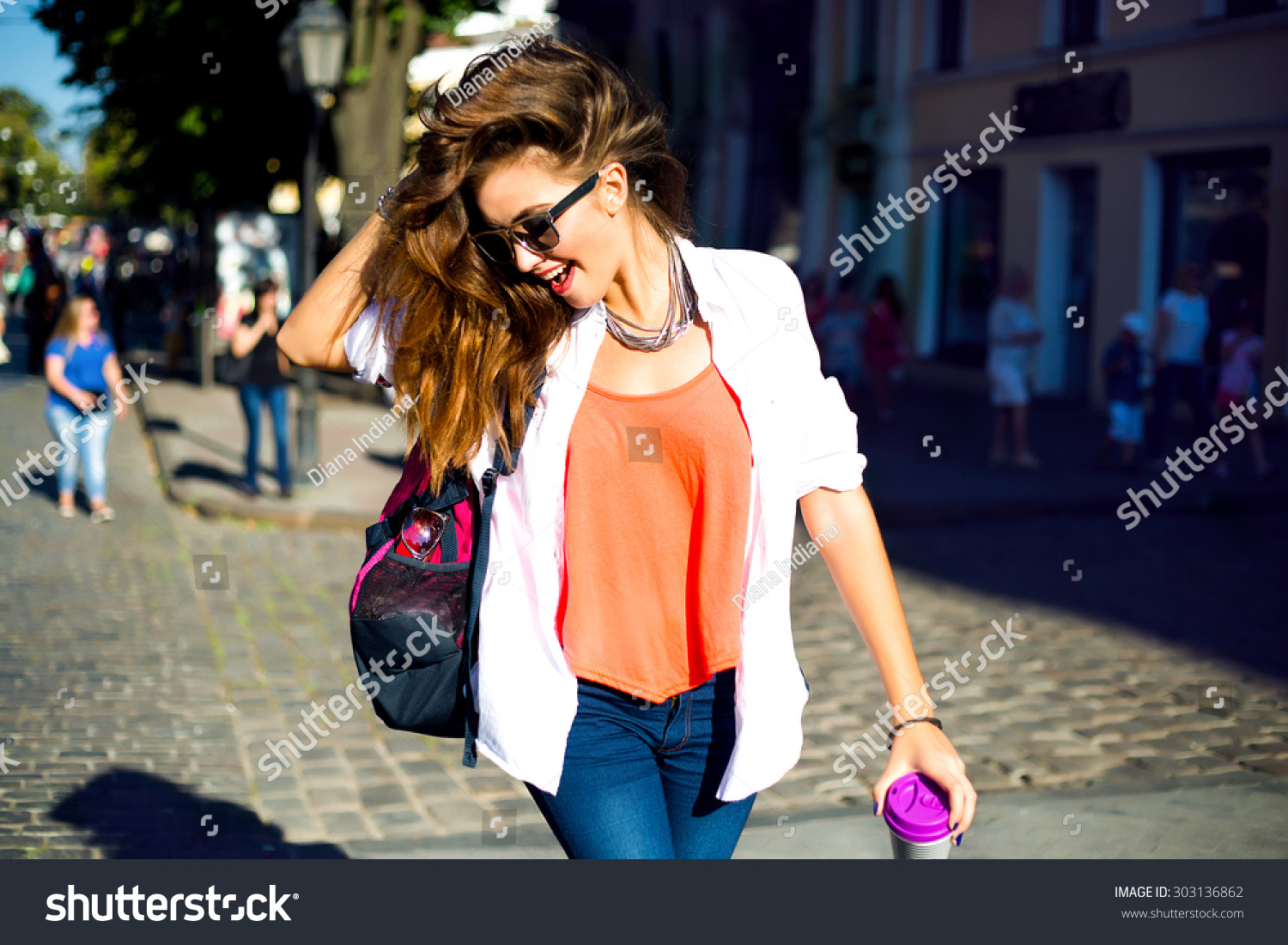Summer Sunny Lifestyle Fashion Portrait Young Stock Photo 303136862 Shutterstock