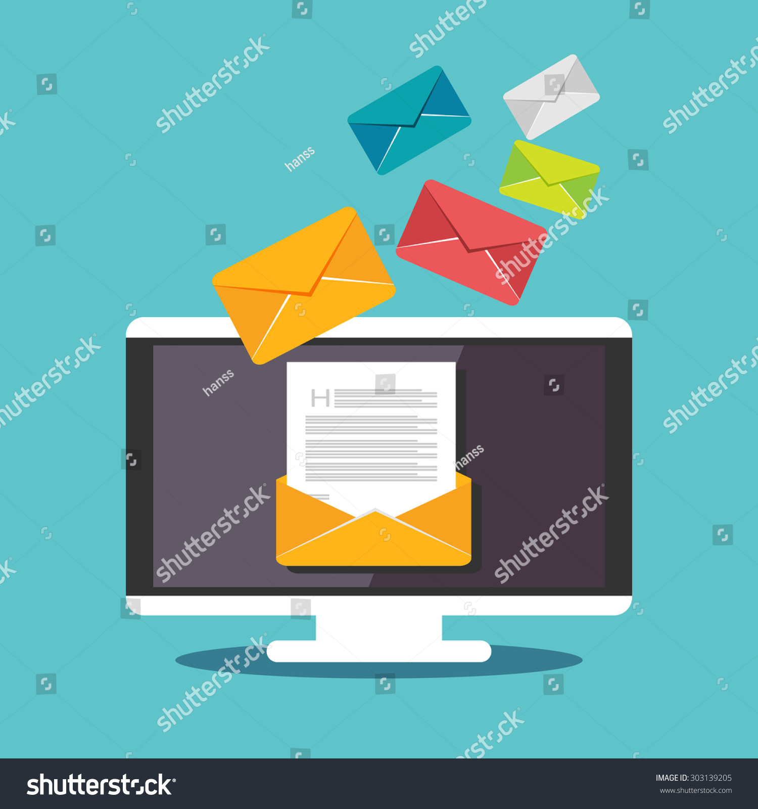 email illustration sending receiving email concept stock vector 303139205