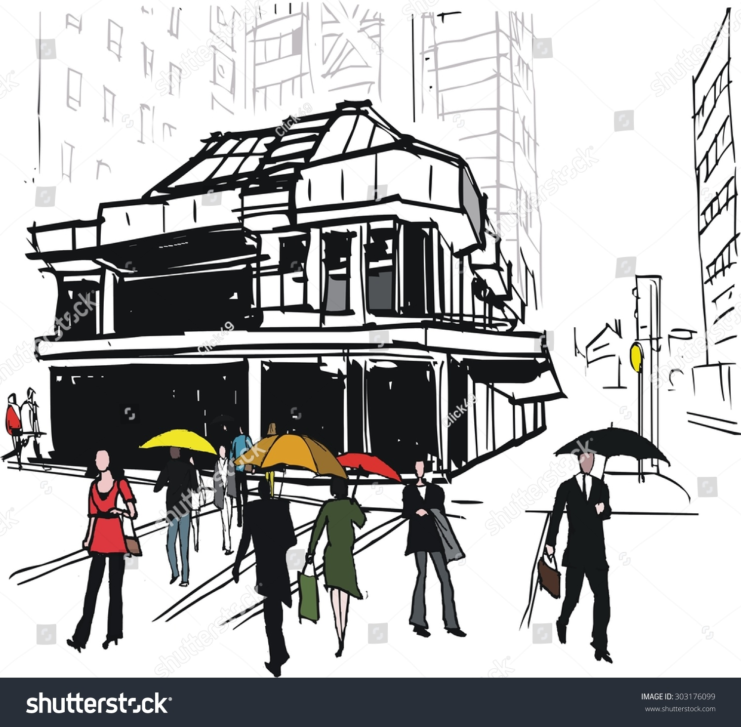 Vector Illustration Of Office Building And Pedestrians In Rain, Wellington  New Zealand