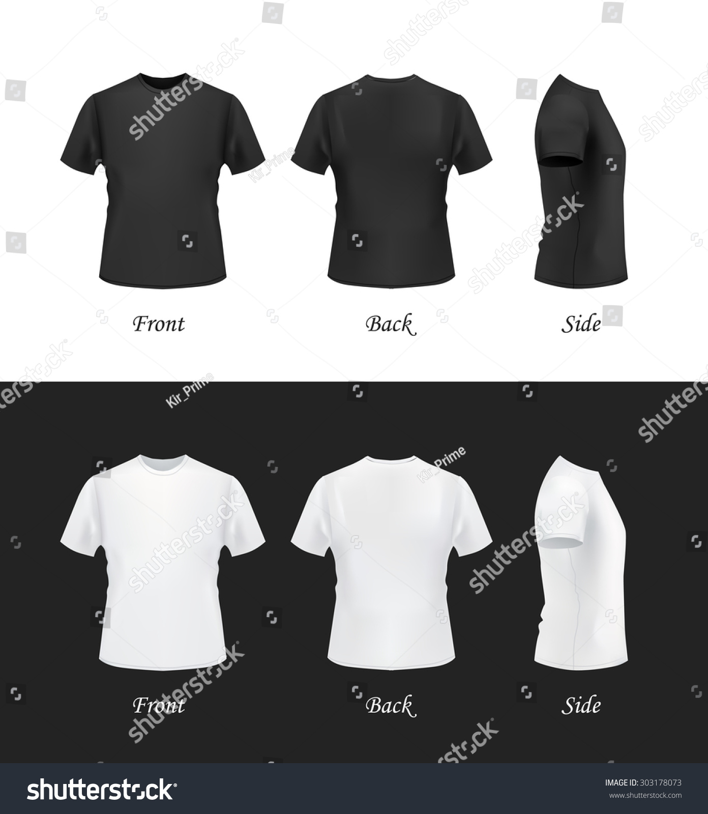 White t shirt eps - T Shirt Template Front Side Back View Black And White T