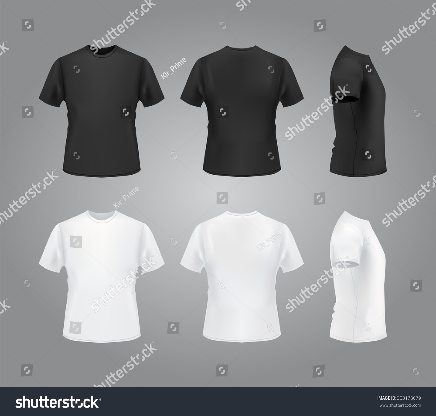 T-Shirt Template Set, Front, Side, Back View. Vector Eps