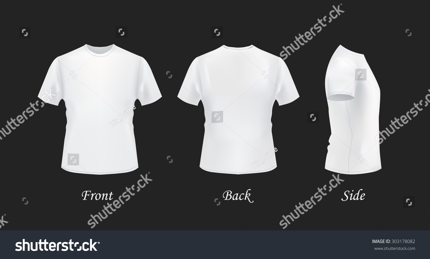 White t shirt eps - T Shirt Template Front Side Back View White T Shirts