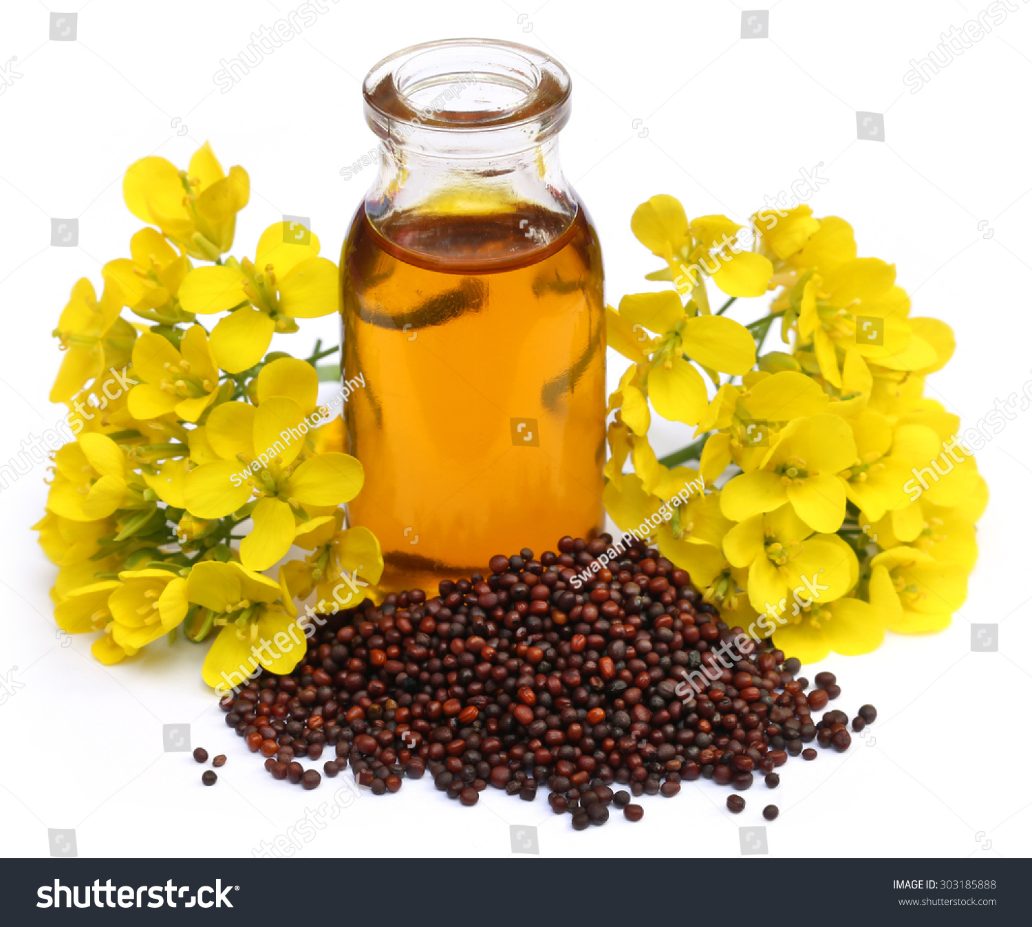 Mustard Oil With Flower Over White Background Stock Shutter