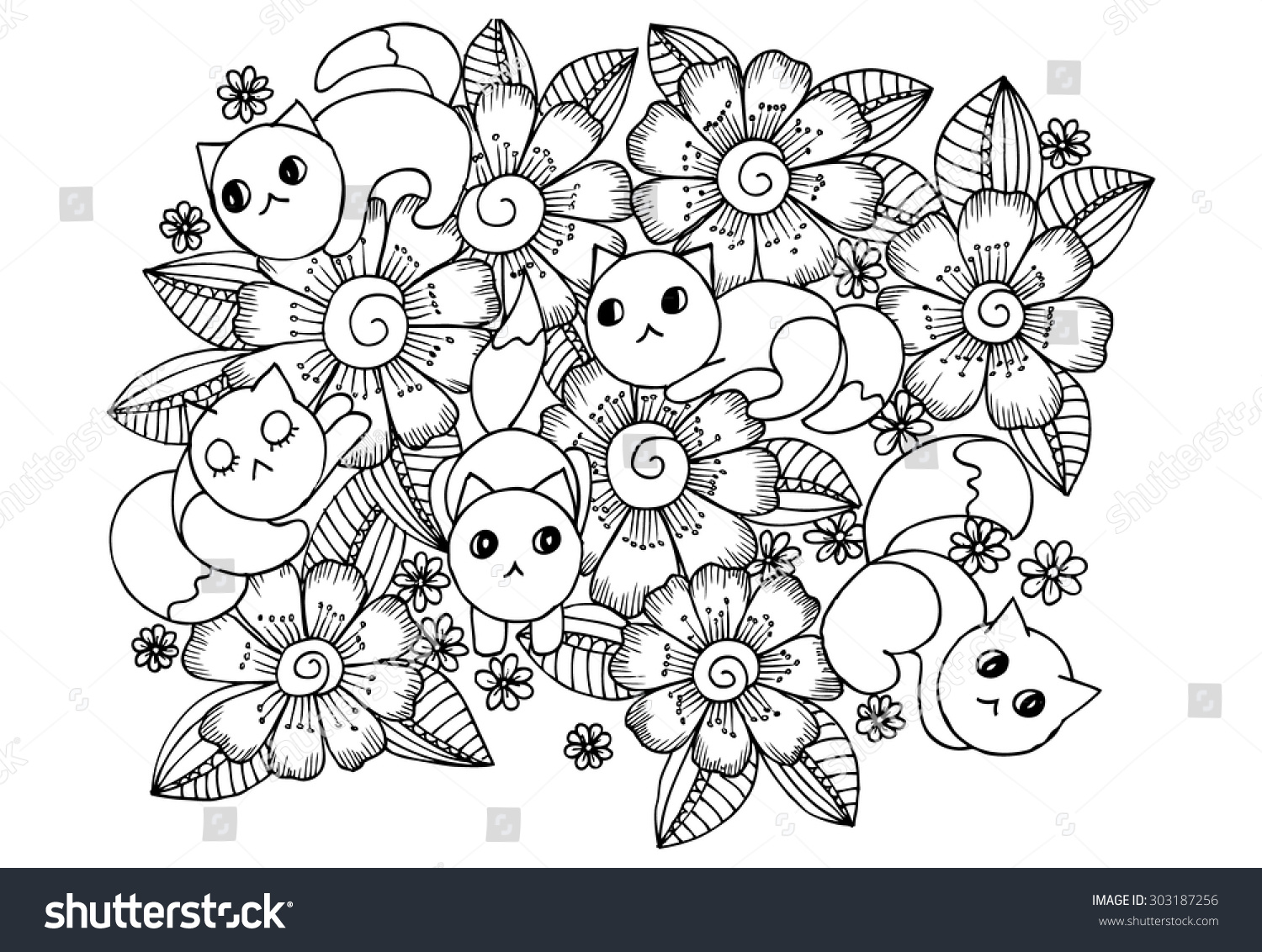 vector doodle cats flowers one color stock vector 303187256