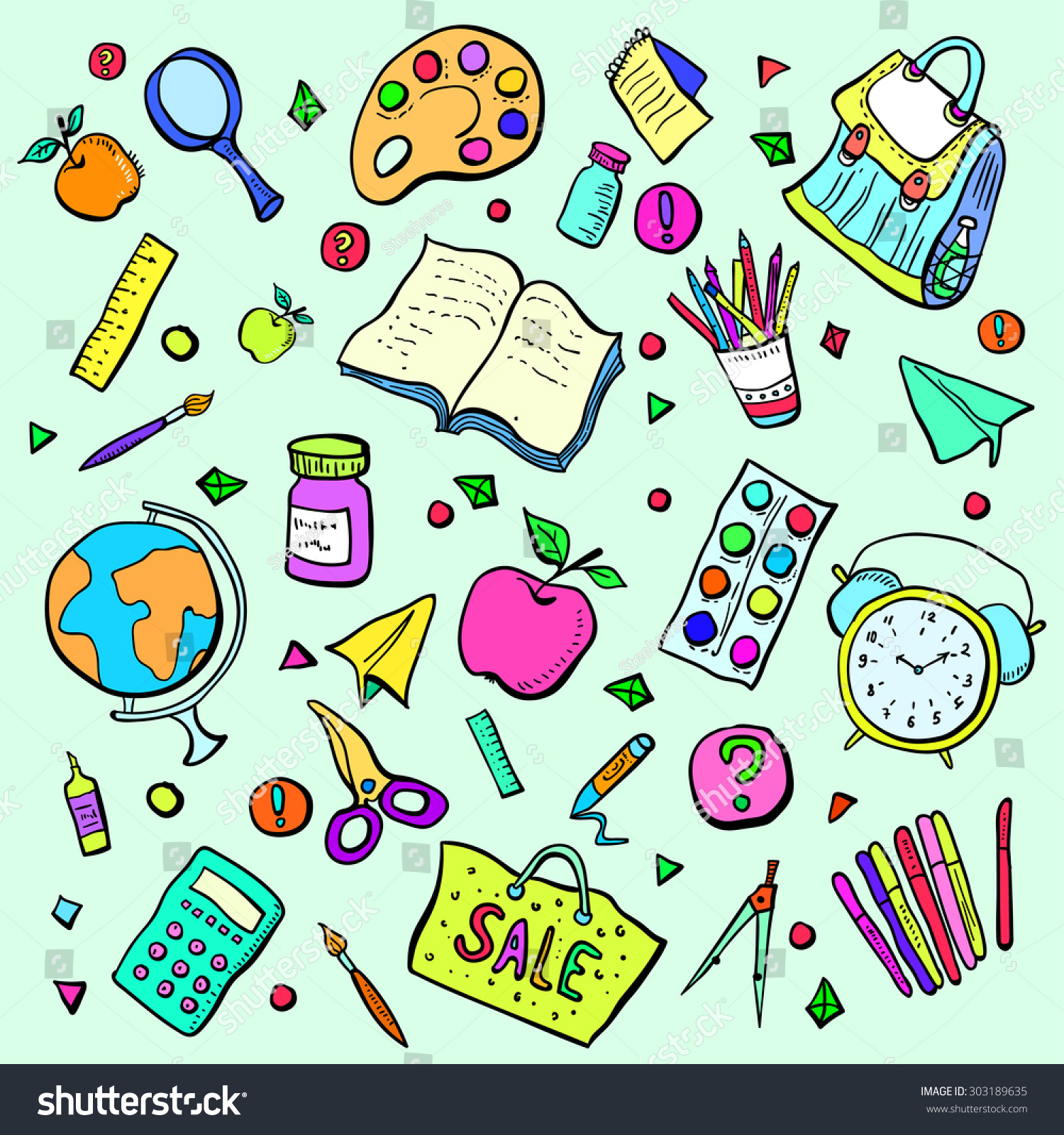 Collection School Subjects Cartoon Colorful Objects Stock Vector ...