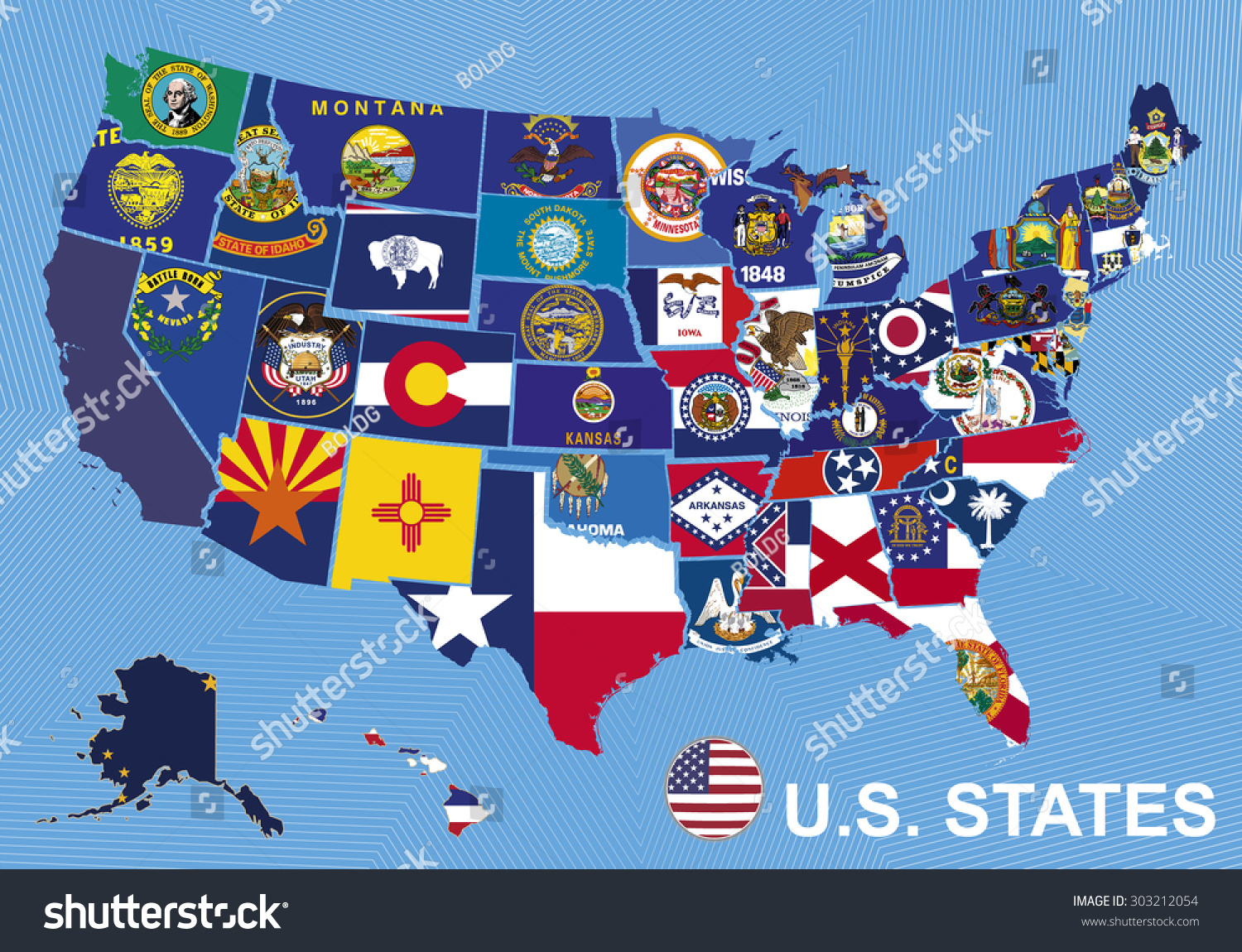Usa Map Flags States On Blue Stock Vector  Shutterstock - Hawaii map usa states