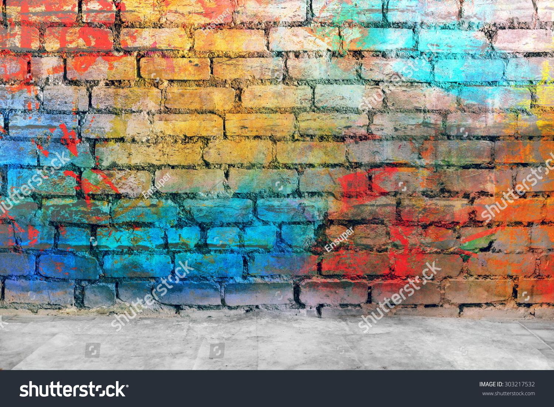 Graffiti Brick Wall Colorful Background 303217532
