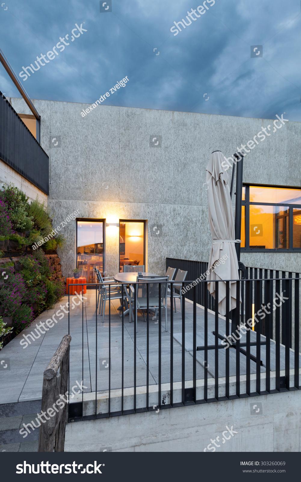 External Modern House Veranda Evening Scene Stock Photo 303260069