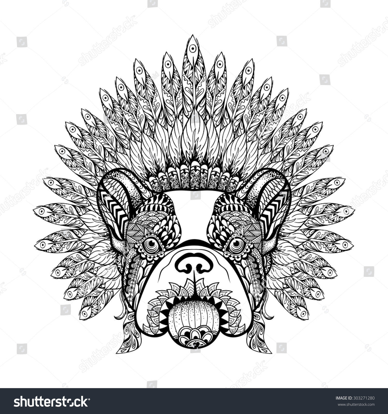 1deb3a61c Hand Drawn French Bulldog with Feathered zentangle War bonnet, high  detailed headdress for Indian Chief