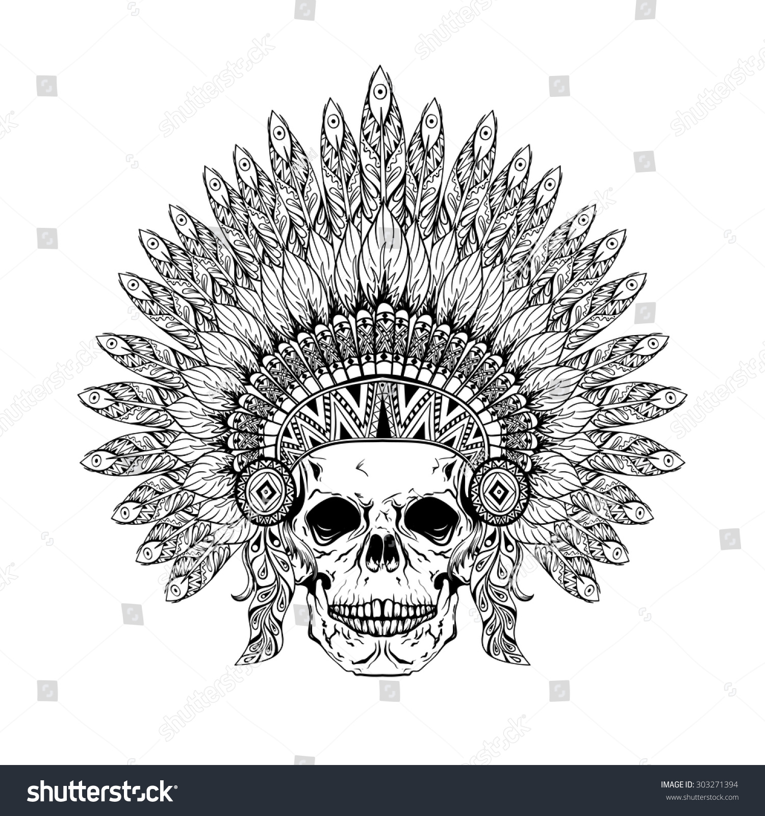 Hand Drawn Skull Zentangle Feathered War Stock Vector ...
