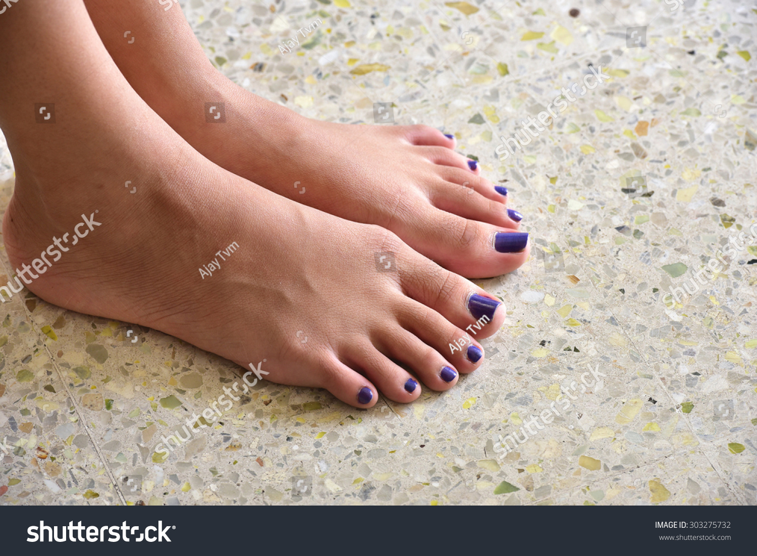 Looking Down Bare Feet Teenager Girl Stock Photo (Royalty Free ...