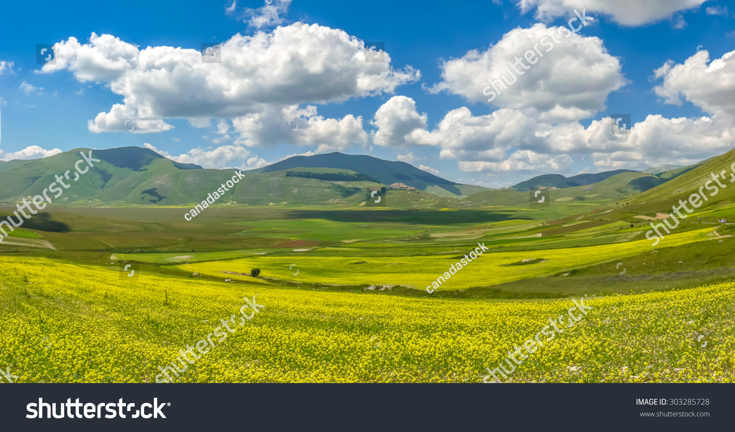 Beautiful summer landscape at Piano Grande Great Plain mountain plateau in the Apennine Mountains Castelluccio di Norcia Umbria Italy