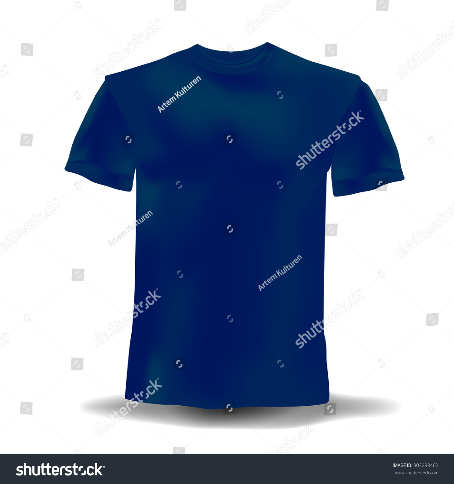 Isolated realistic navy blue template tshirts stock vector for Blue t shirt template