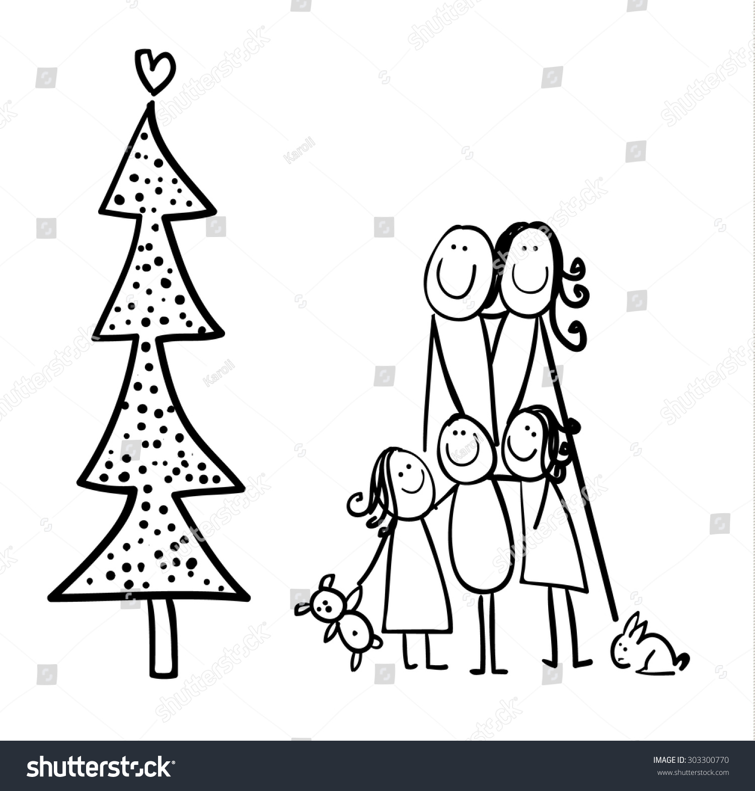 Line Drawing Christmas Tree : Hand line drawing cartoon stick figures stock illustration