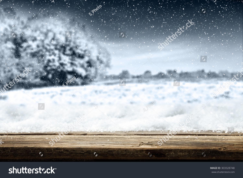 Wooden desk space texture snow landscape stock photo for Landscape space