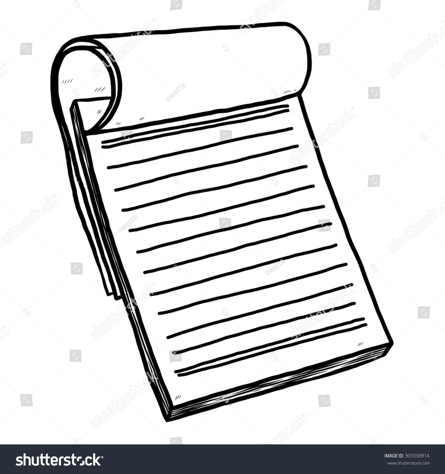 reporter notebook paper cartoon vector illustration stock vector