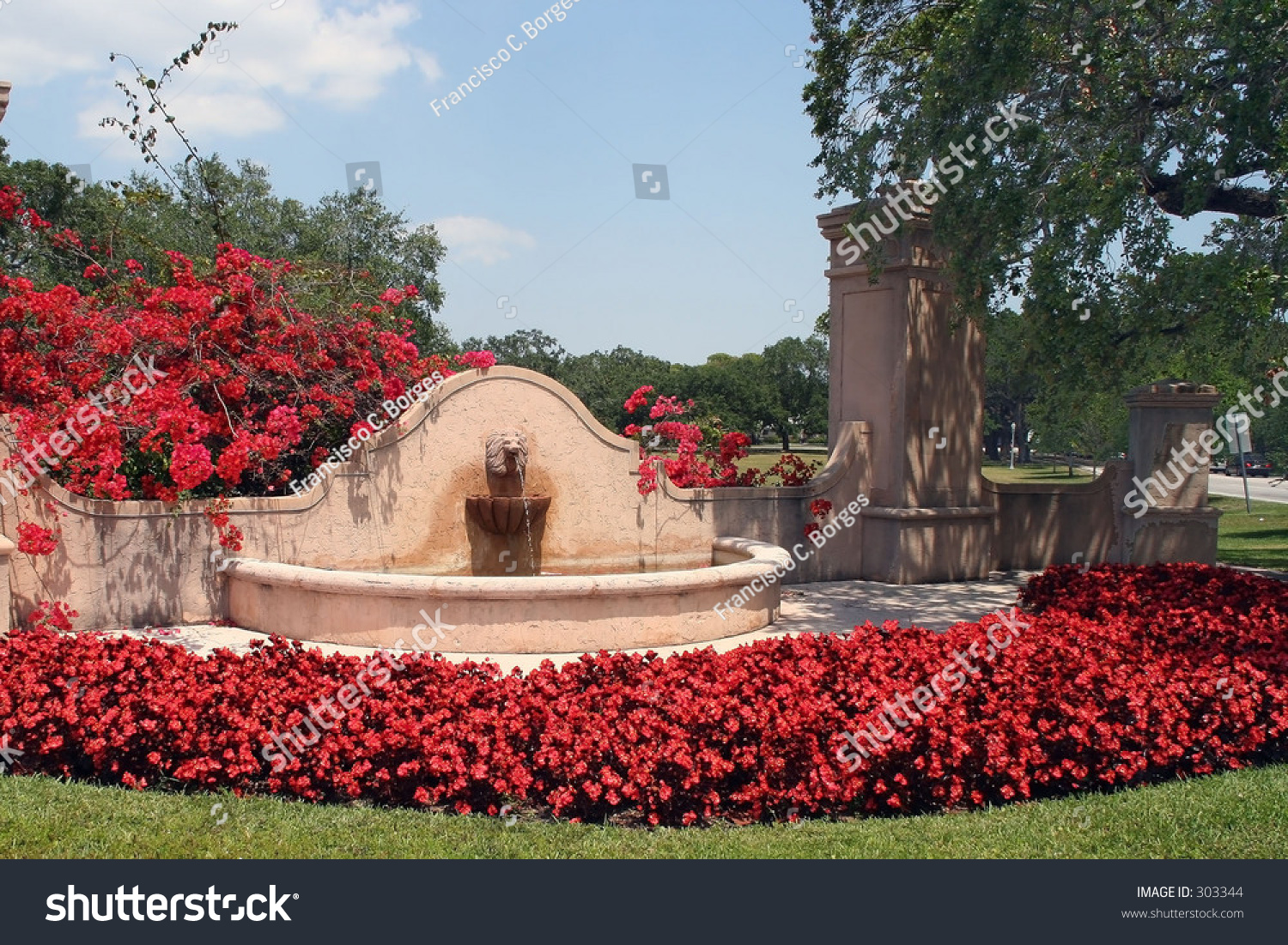 Spanish style fountain coral gables fl stock photo 303344 for Spanish style fountains for sale