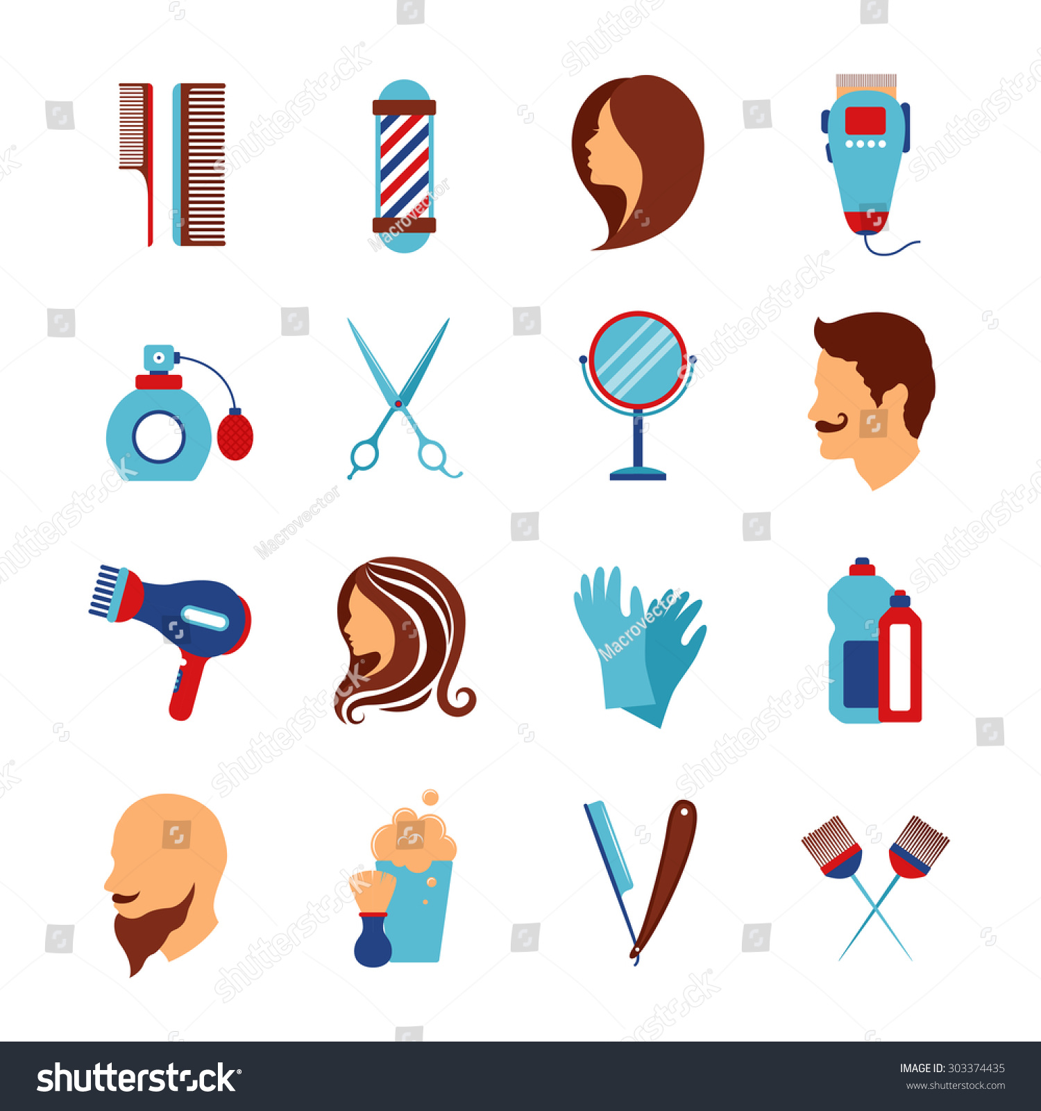 Hair salon chair isolated stock photos illustrations and vector art - Barber Shop And Hairdressing Beauty Salon Accessories For Hair Styling Flat Icons Set Abstract Vector Isolated