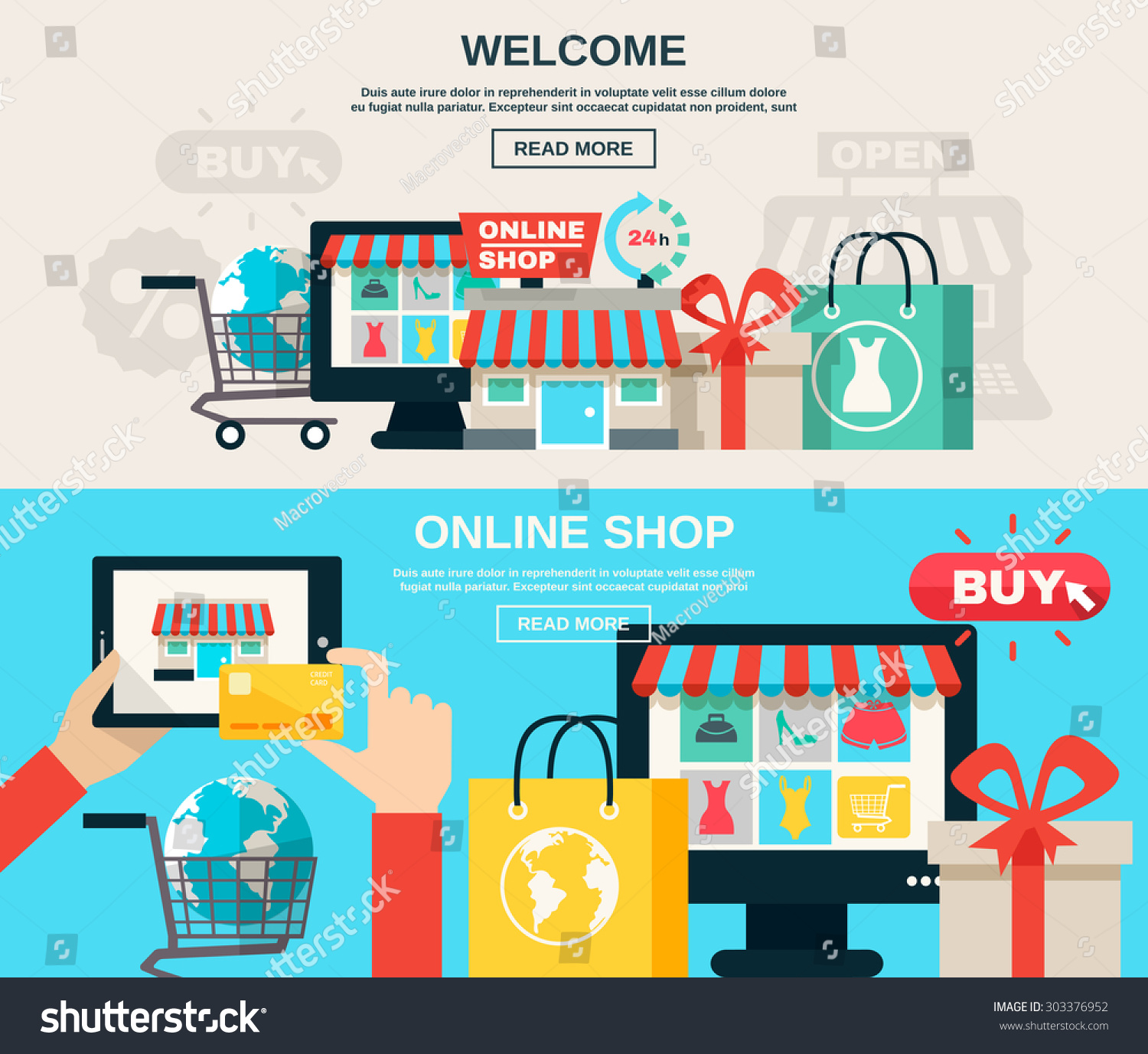 Uncategorized Color On Line welcome online shop web market buy stock vector 303376952 or and flat color horizontal banner set isolated vector