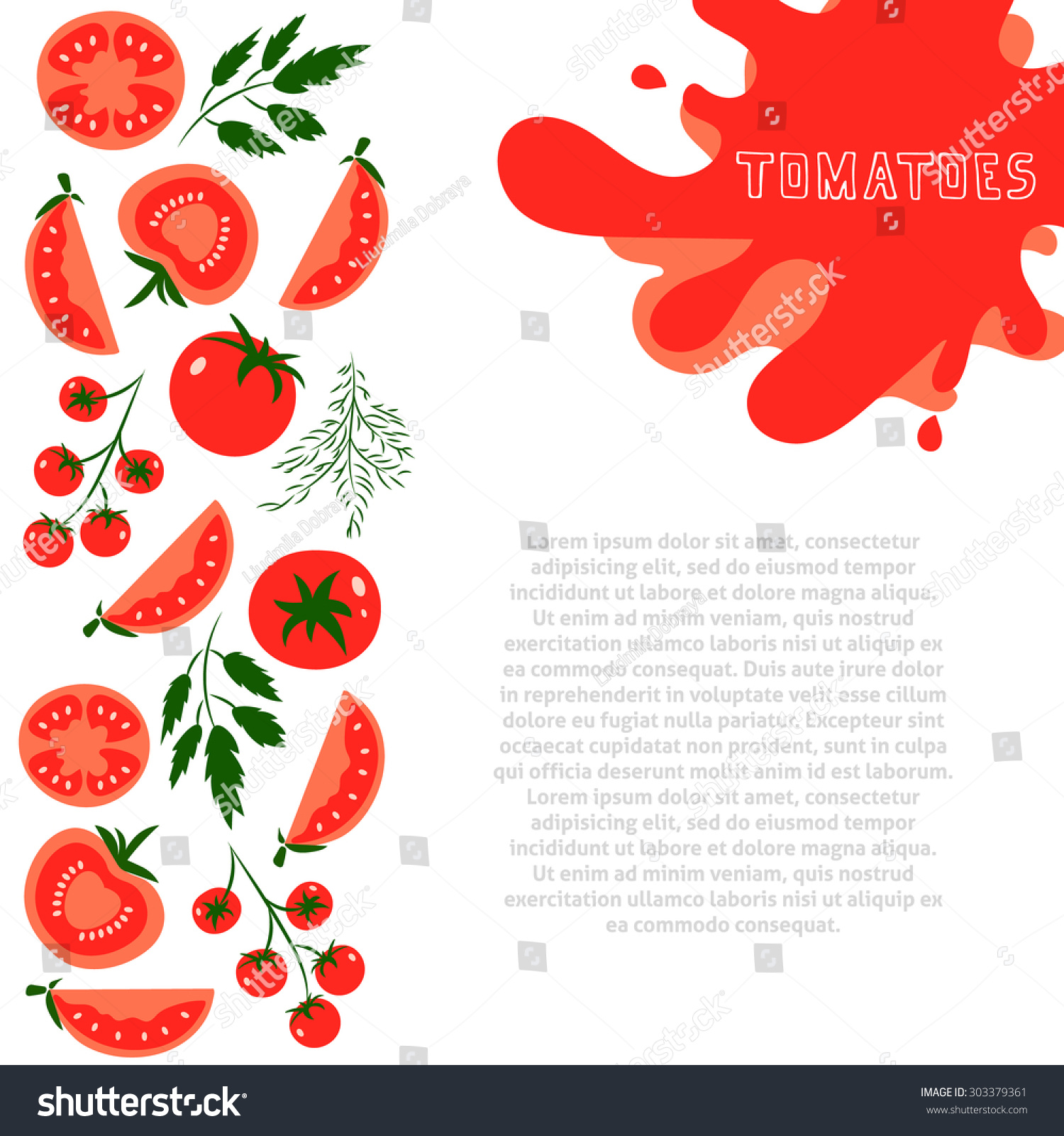 Template Design Red Tomatoes Place Your Stock Vector Royalty Free ...