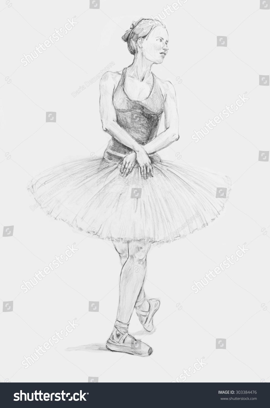 Dancing ballerina pencil drawing