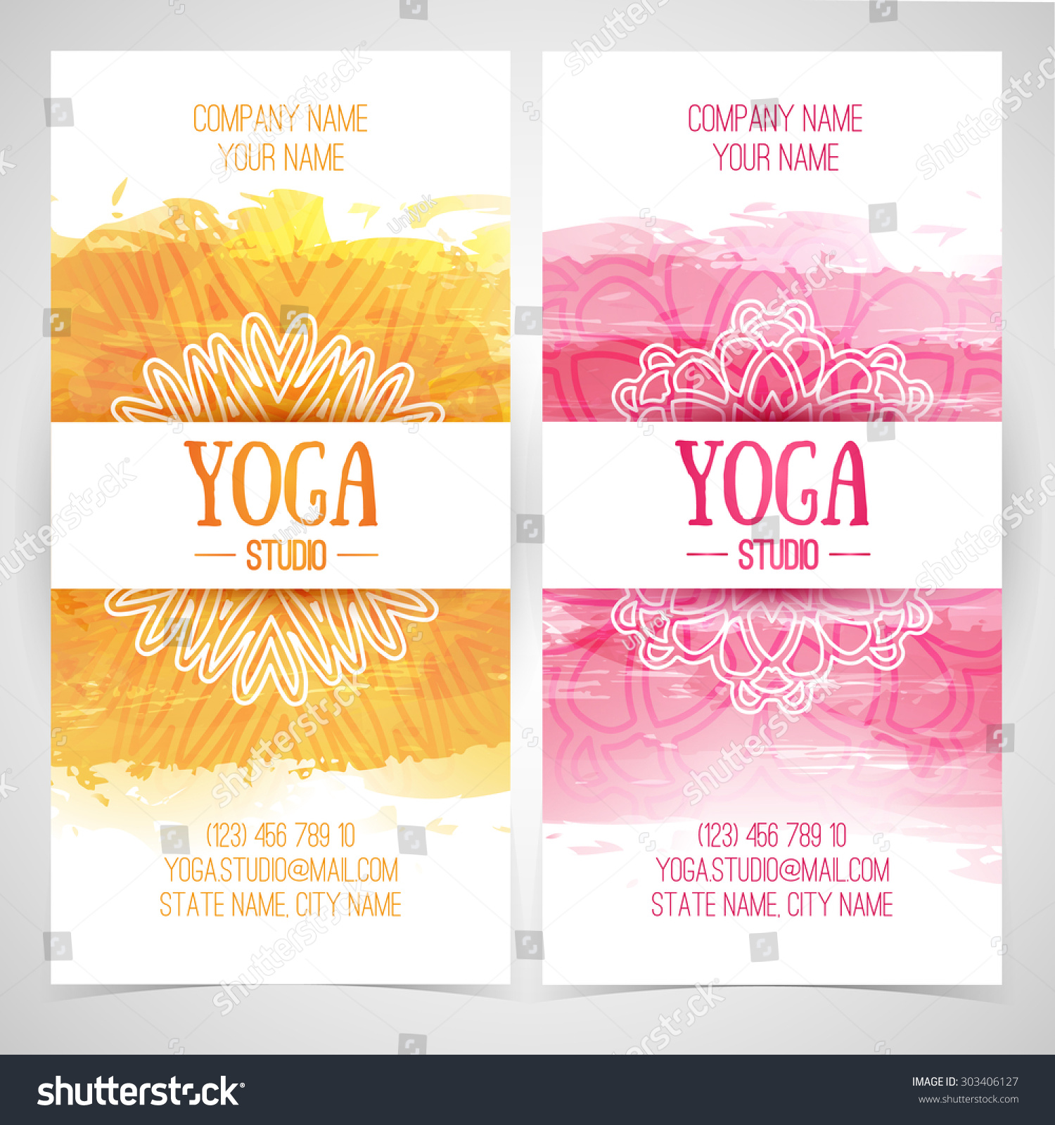 Set design template brochures cards invitations flyers for a yoga studio with watercolor texture and mandala Vector Place for your text