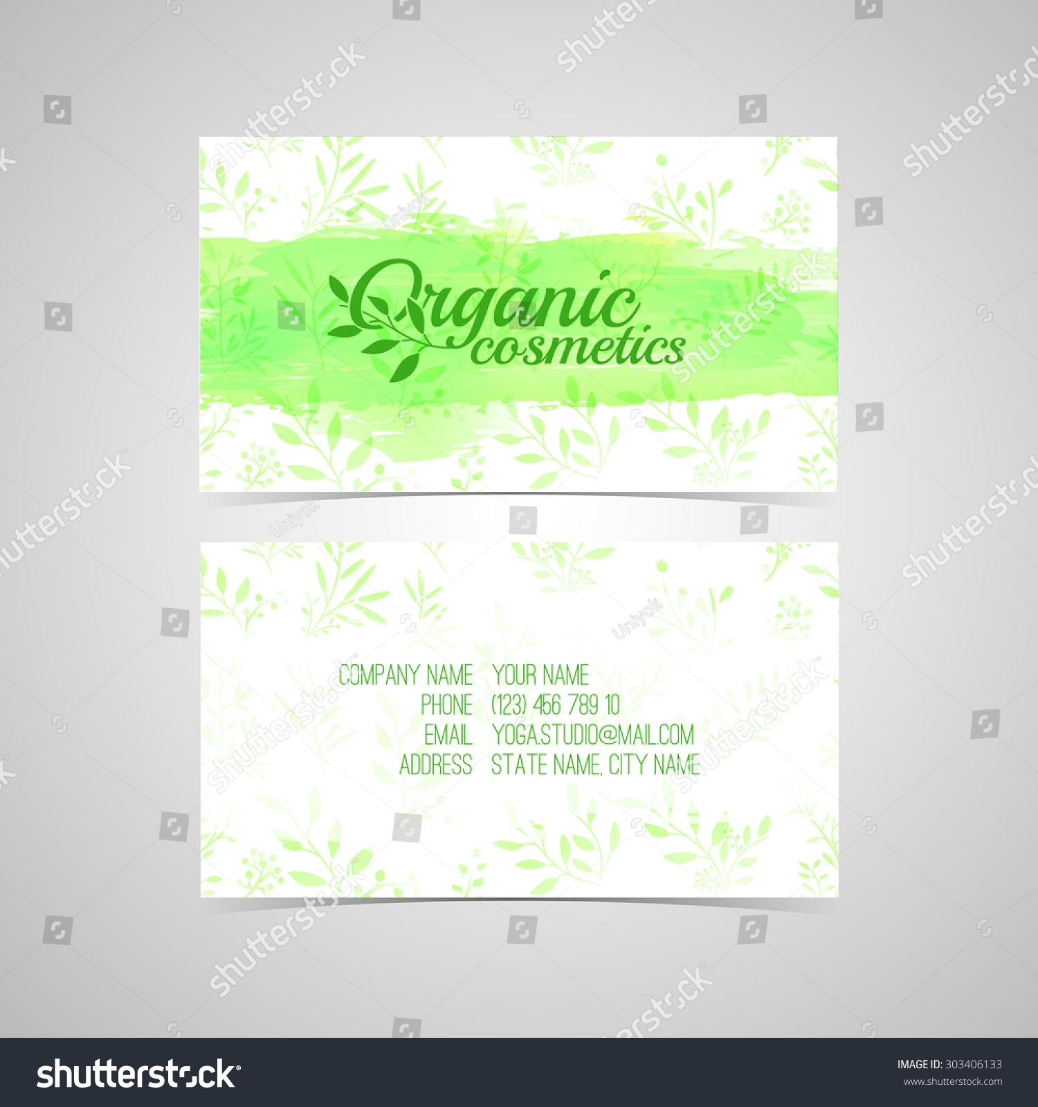 Design Template Organic Cosmetics Business Card Stock Vector ...