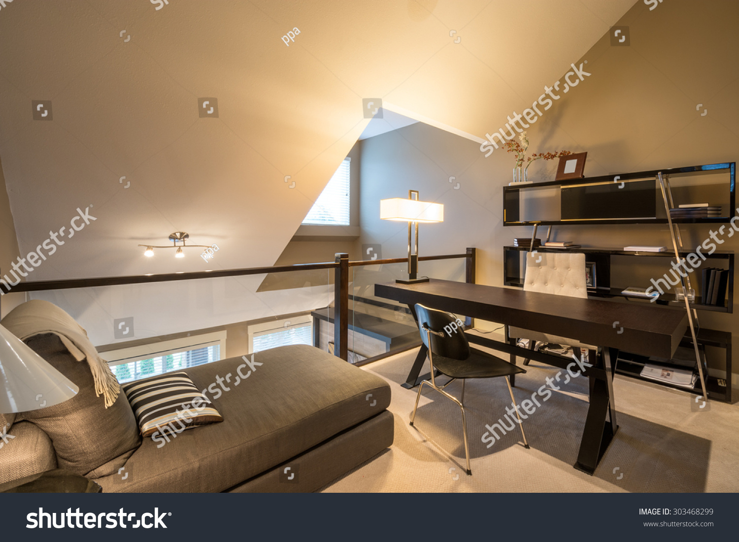 Cozy Home Office Desk Bookcase Chaise Stock Photo 303468299