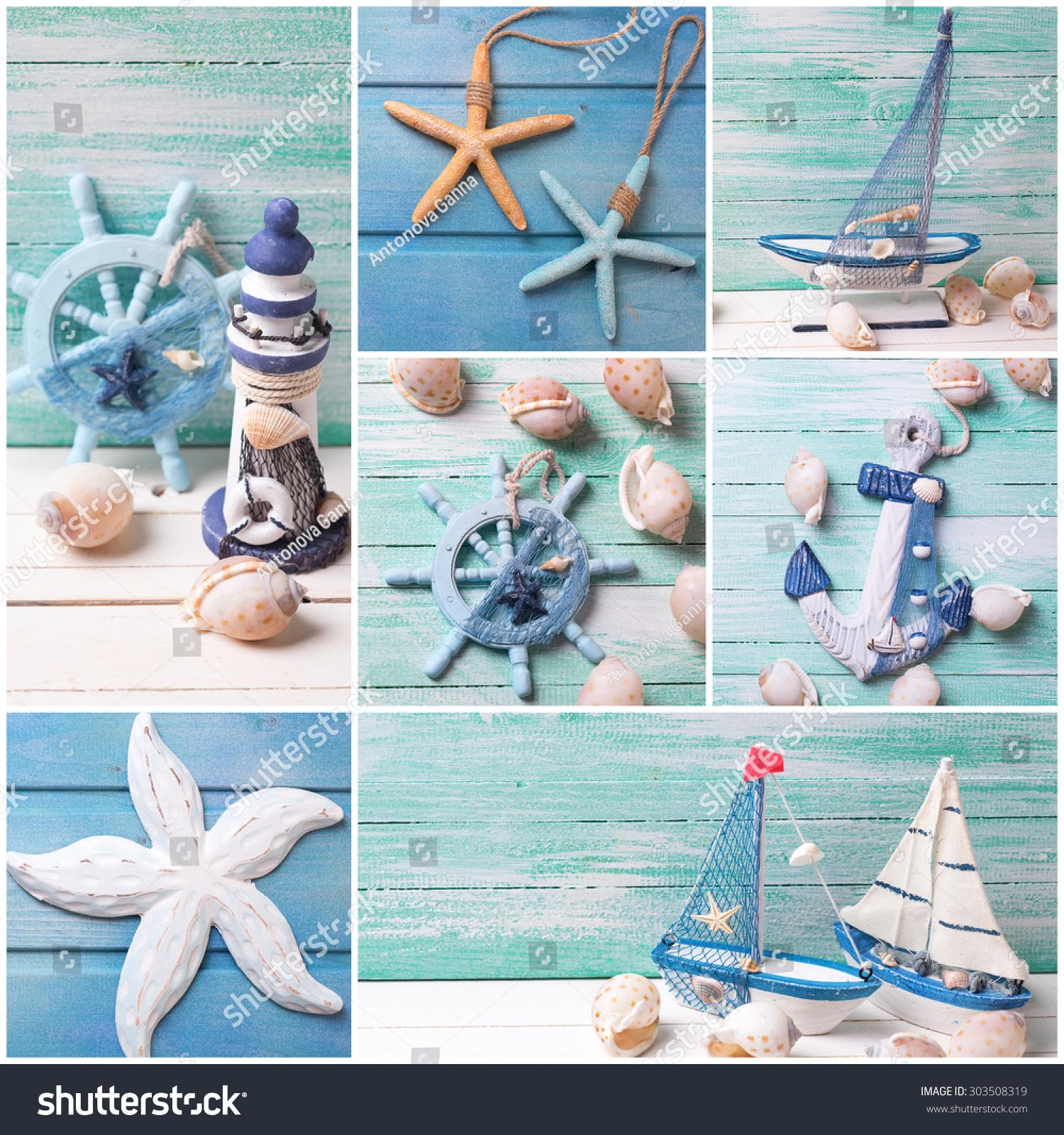 Collage Photos Sea Theme Decorations Decorative Stock