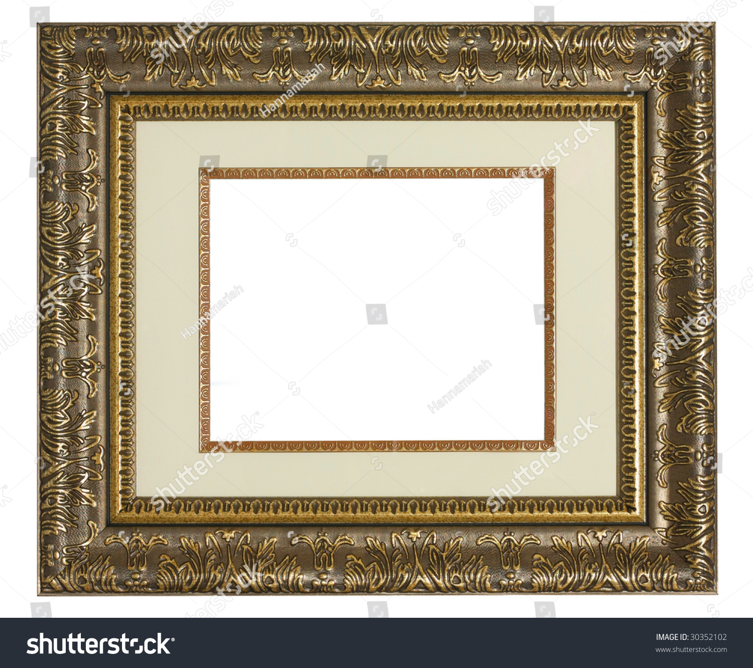 Old Golden Highly Detailed Picture Frame Stock Photo (Edit Now ...