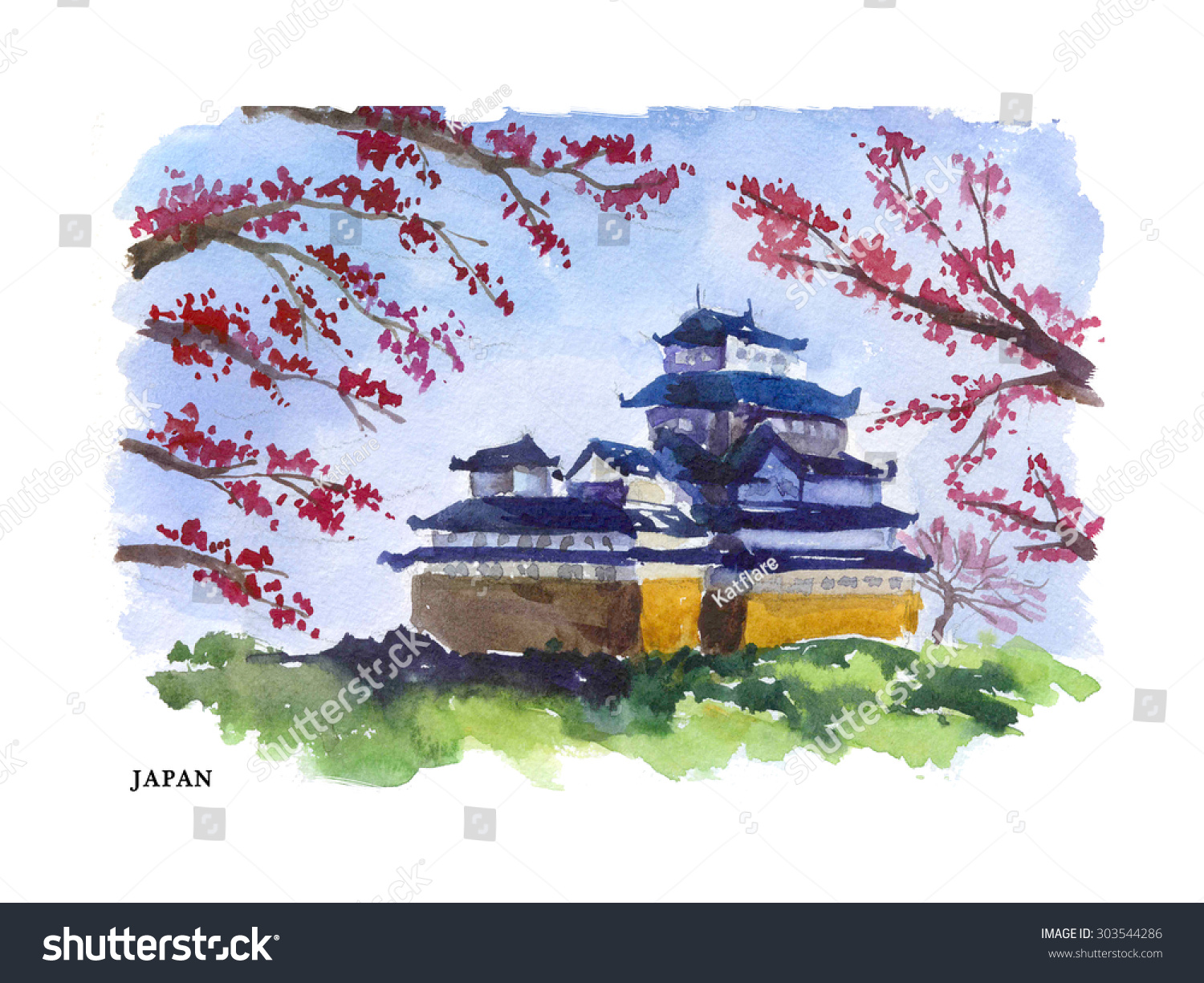watercolor illustration japan sightseeings traditional castle