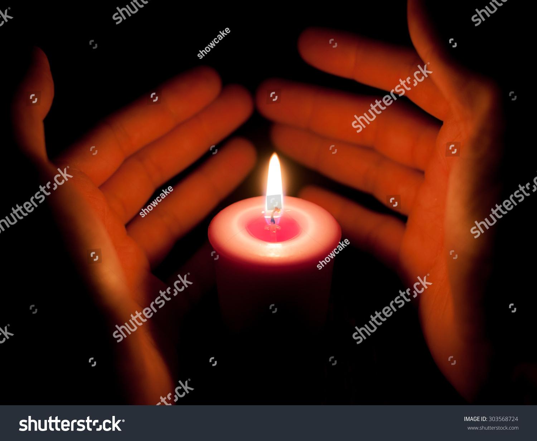 Hand Holding Burning Candle Dark Stock Photo 303568724 - Shutterstock for Holding Candle In The Dark  70ref