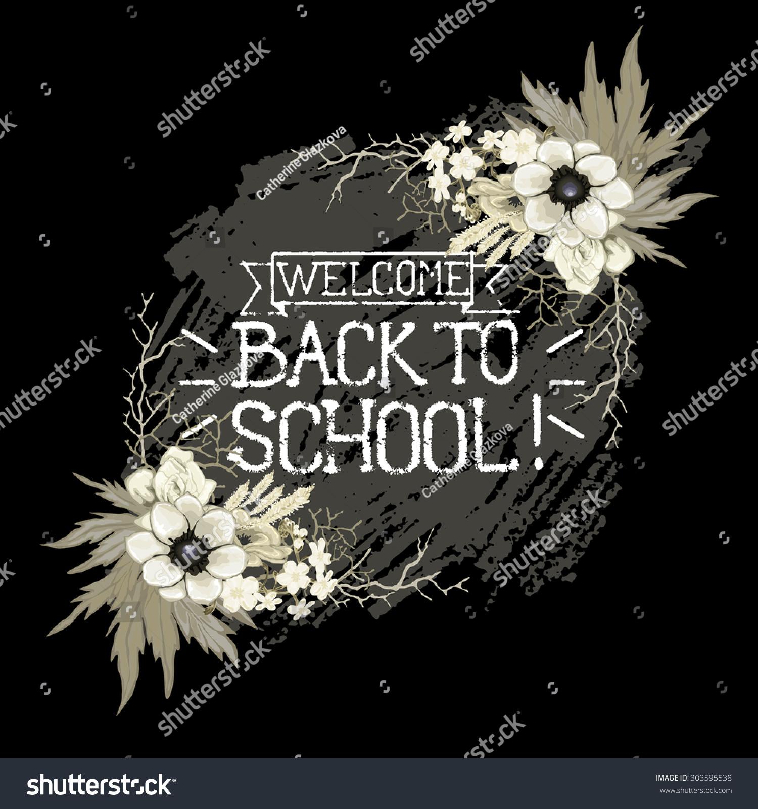 Back School Blackboard Chalk Lettering White Stock Vector Royalty