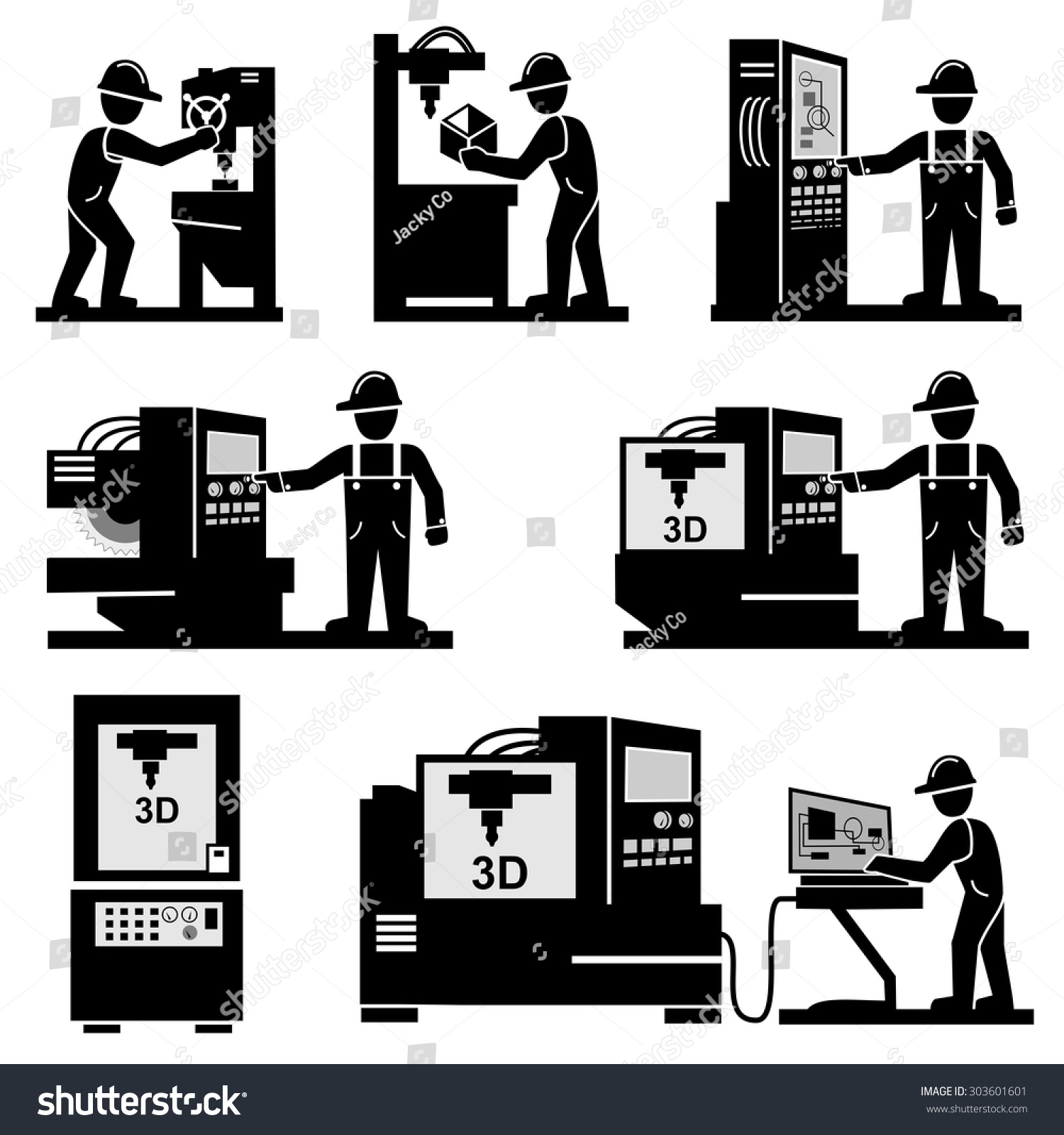 Worker Operator Industrial Machine Vector Icons Stock Vector ...