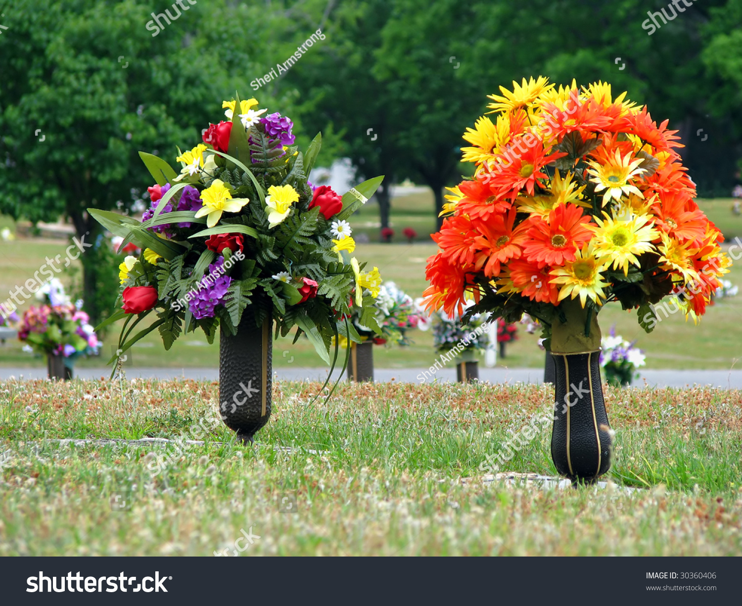 Colorful Silk Flower Vases Summer Cemetery Stock Photo