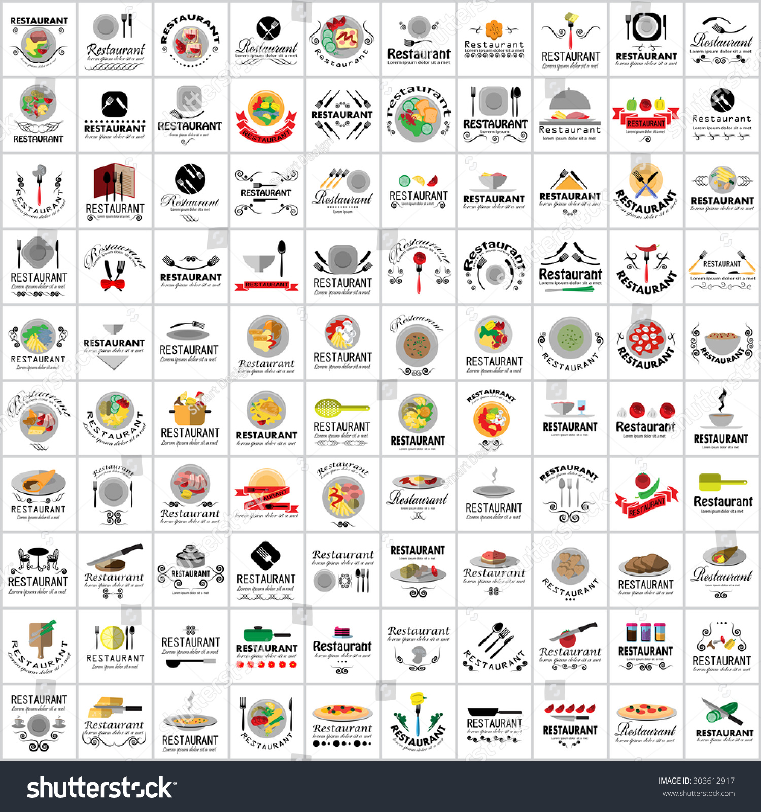 Restaurant flat icons set vector illustration graphic