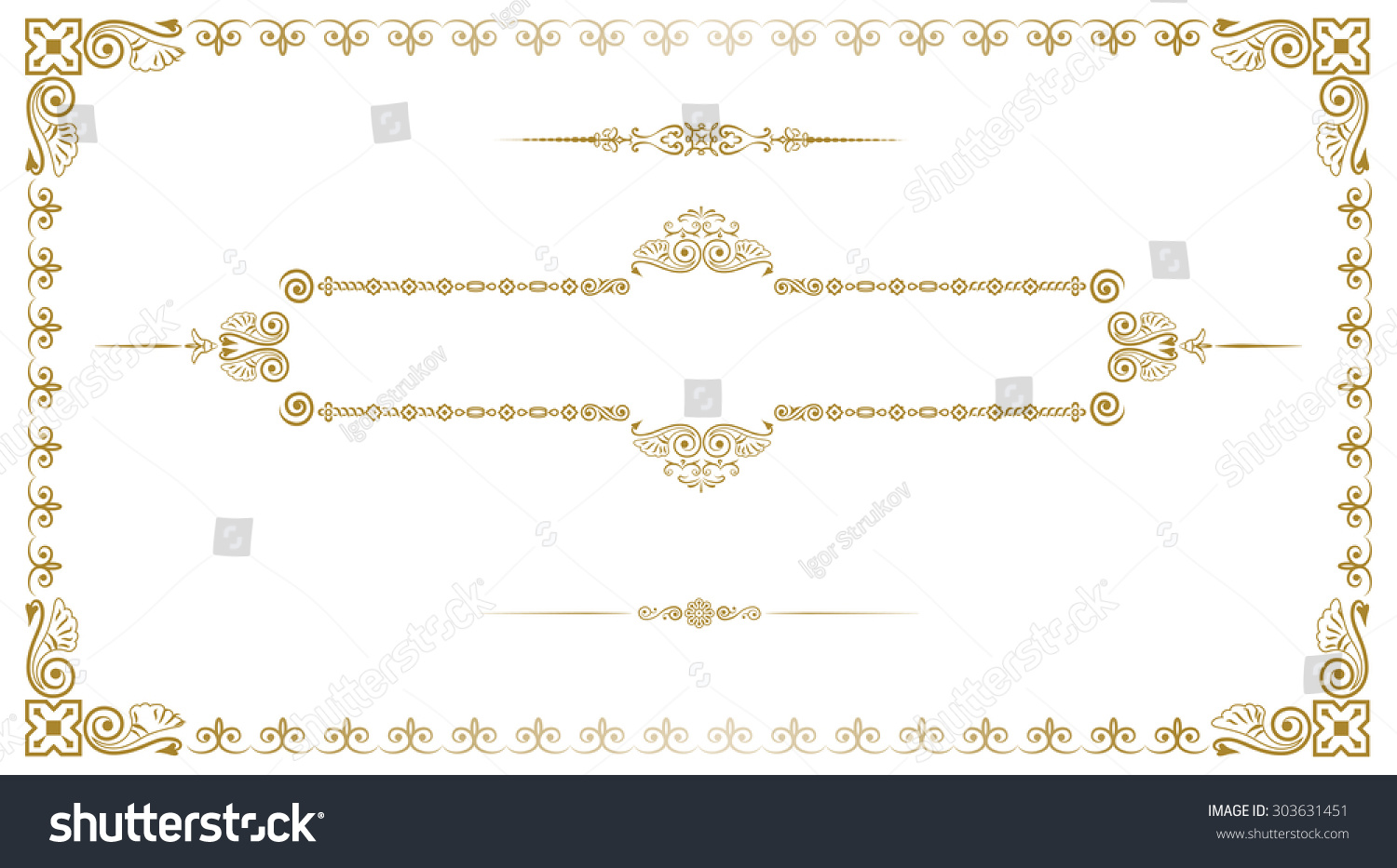 Decorative Gold Frame Business Card Stock Vector 303631451 ...
