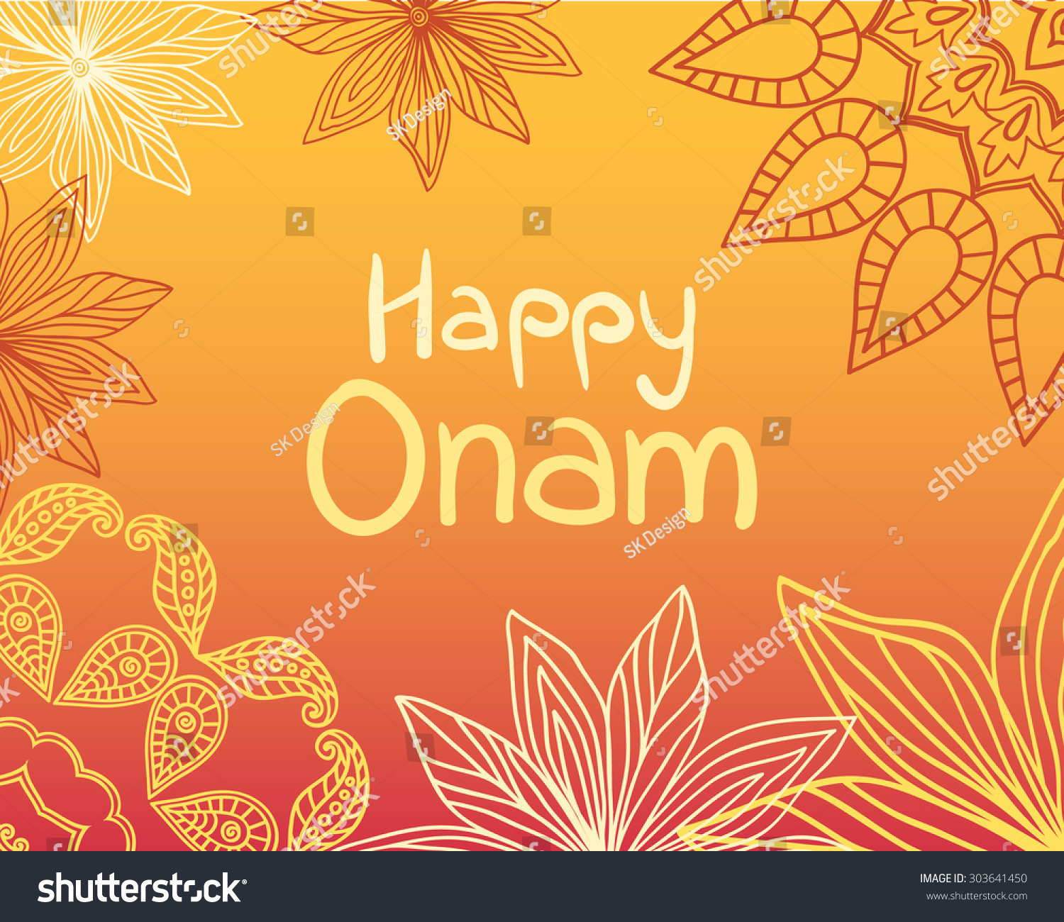 Happy Onam Greeting Card Indian Festival Stock Vector Royalty Free