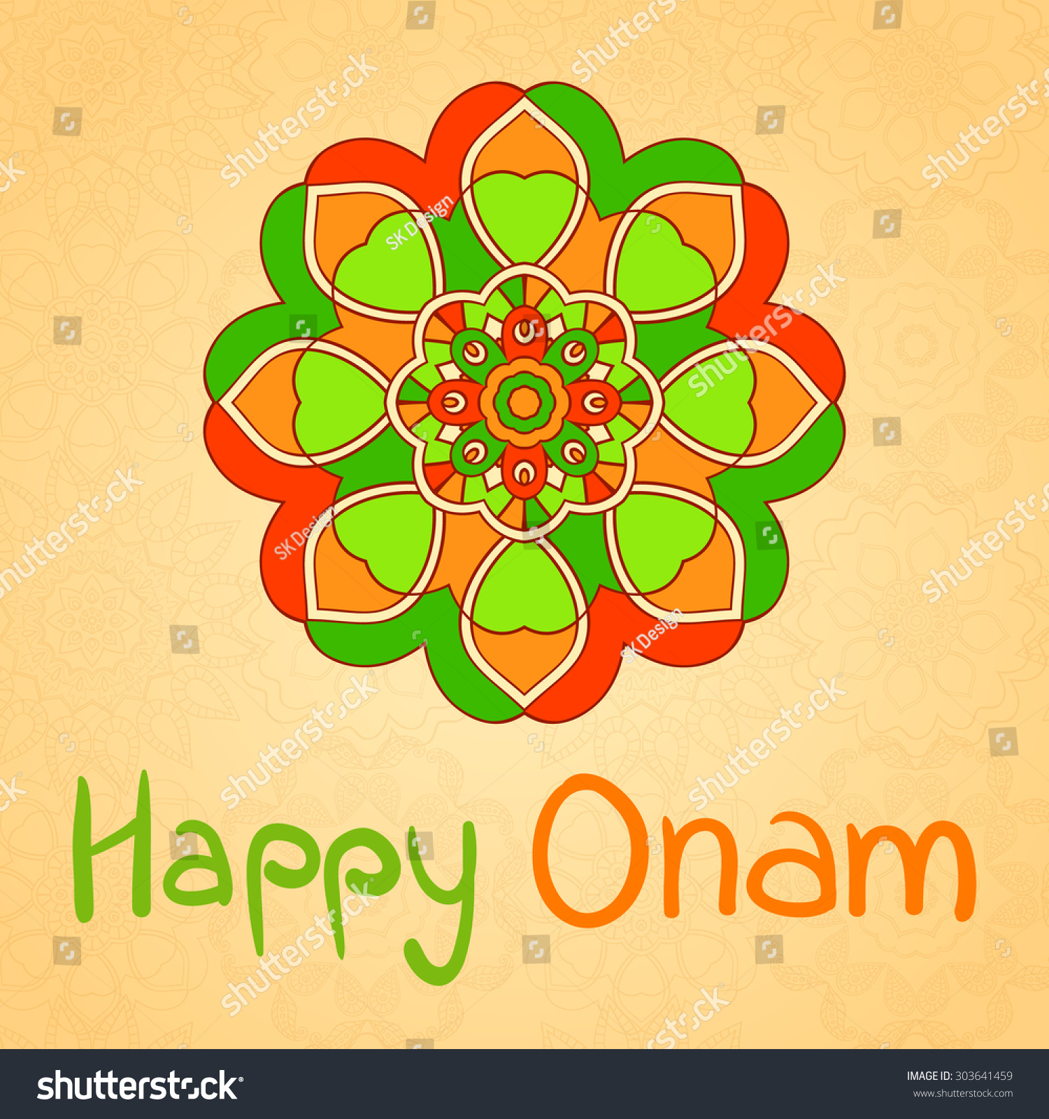 Happy onam greeting card indian festival stock vector 303641459 happy onam greeting card indian festival celebration beautiful floral vintage decoration in mehndi style kristyandbryce Image collections