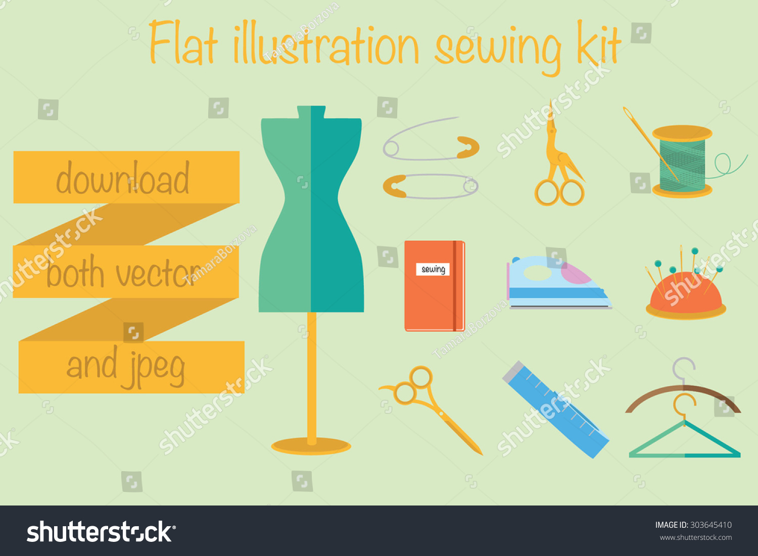 Sewing Tools Vector Illustration Tailor Fashion Stock Vector Royalty Free 303645410