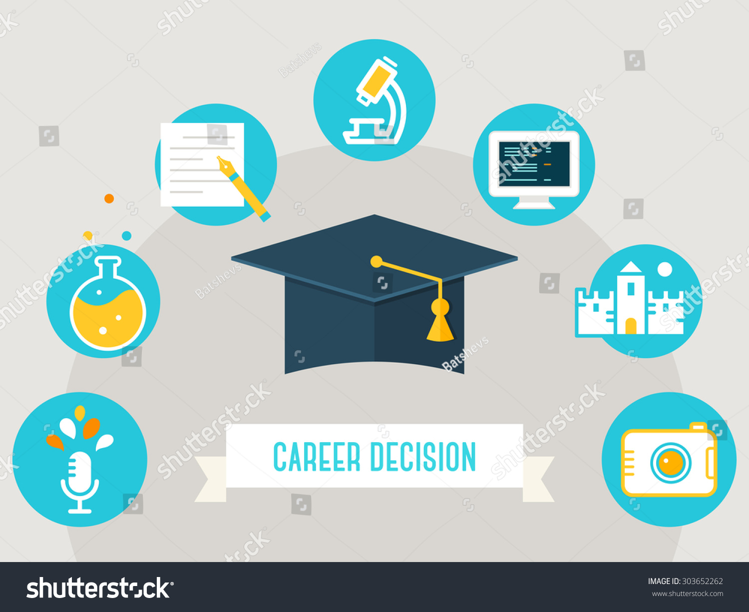 Deciding stock illustrations royalty free gograph - Graduation Cap Surrounded By Education Icons And Career Decision Sign Choosing A Course Occupation