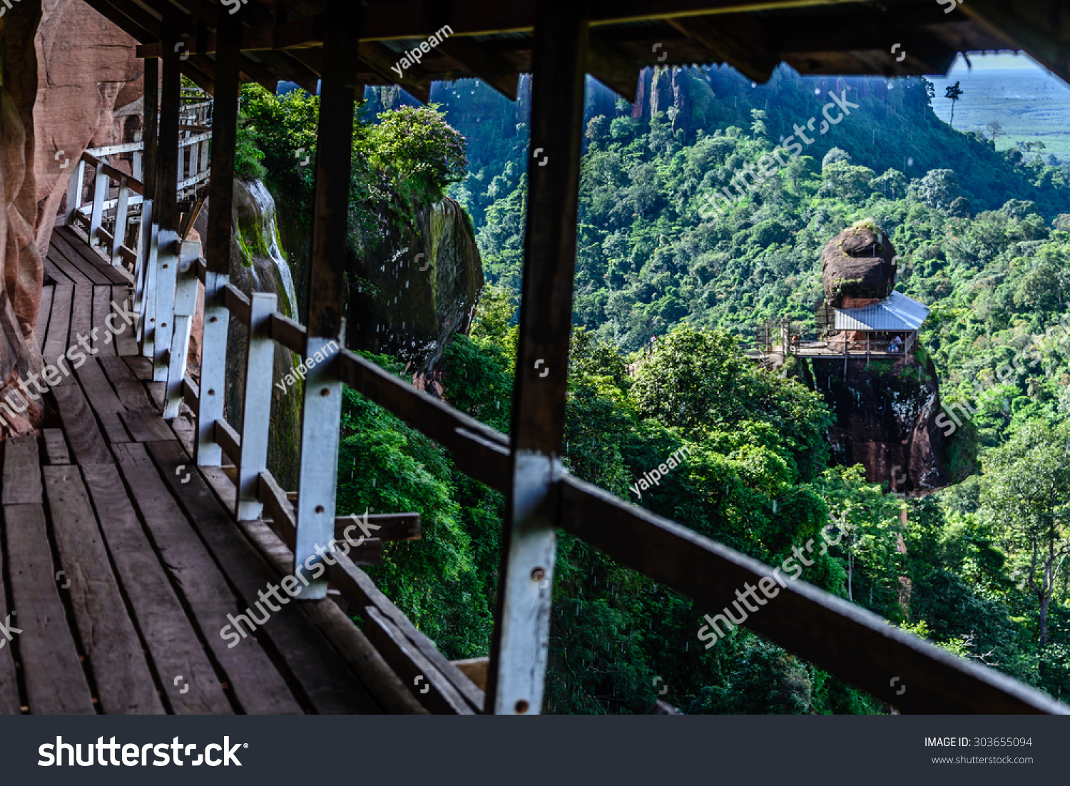 Bueng Kan Thailand  city pictures gallery : Bueng Kan, Thailand August 10,2014:Beautiful Wooden bridge in red ...