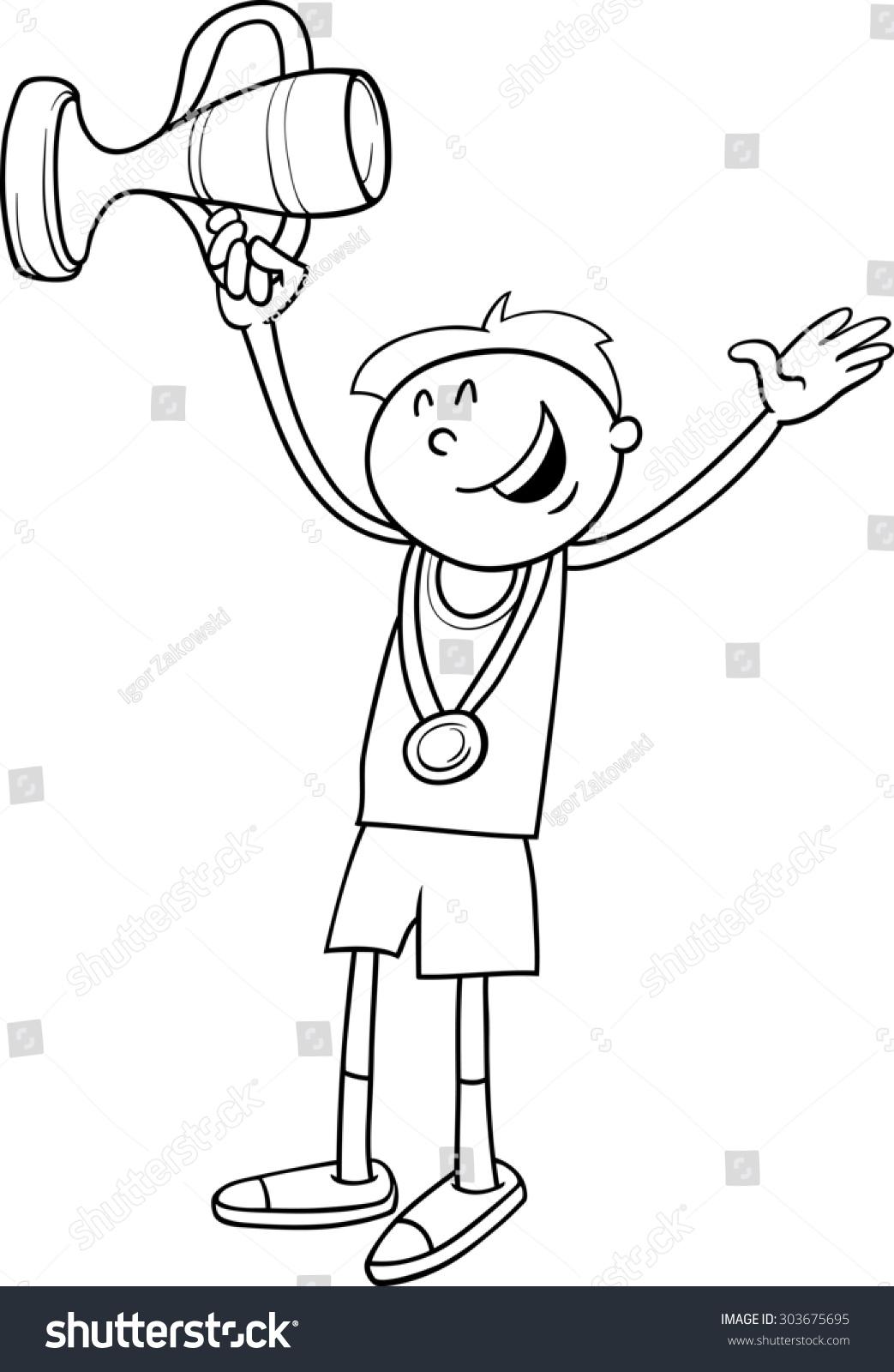 Black White Cartoon Illustration Happy Boy Stock ...