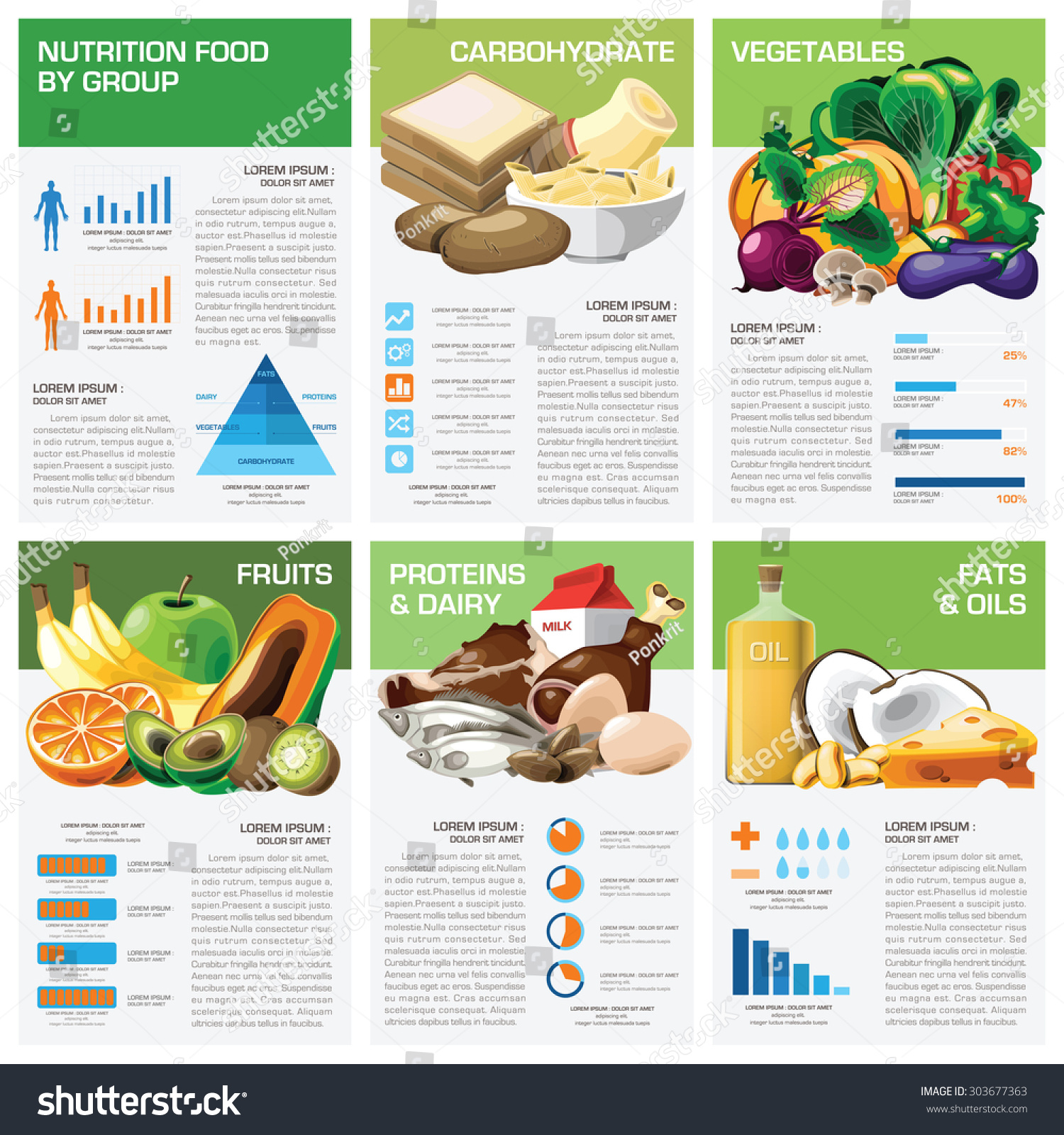 health nutrition food by group infographic stock vector 303677363 shutterstock. Black Bedroom Furniture Sets. Home Design Ideas