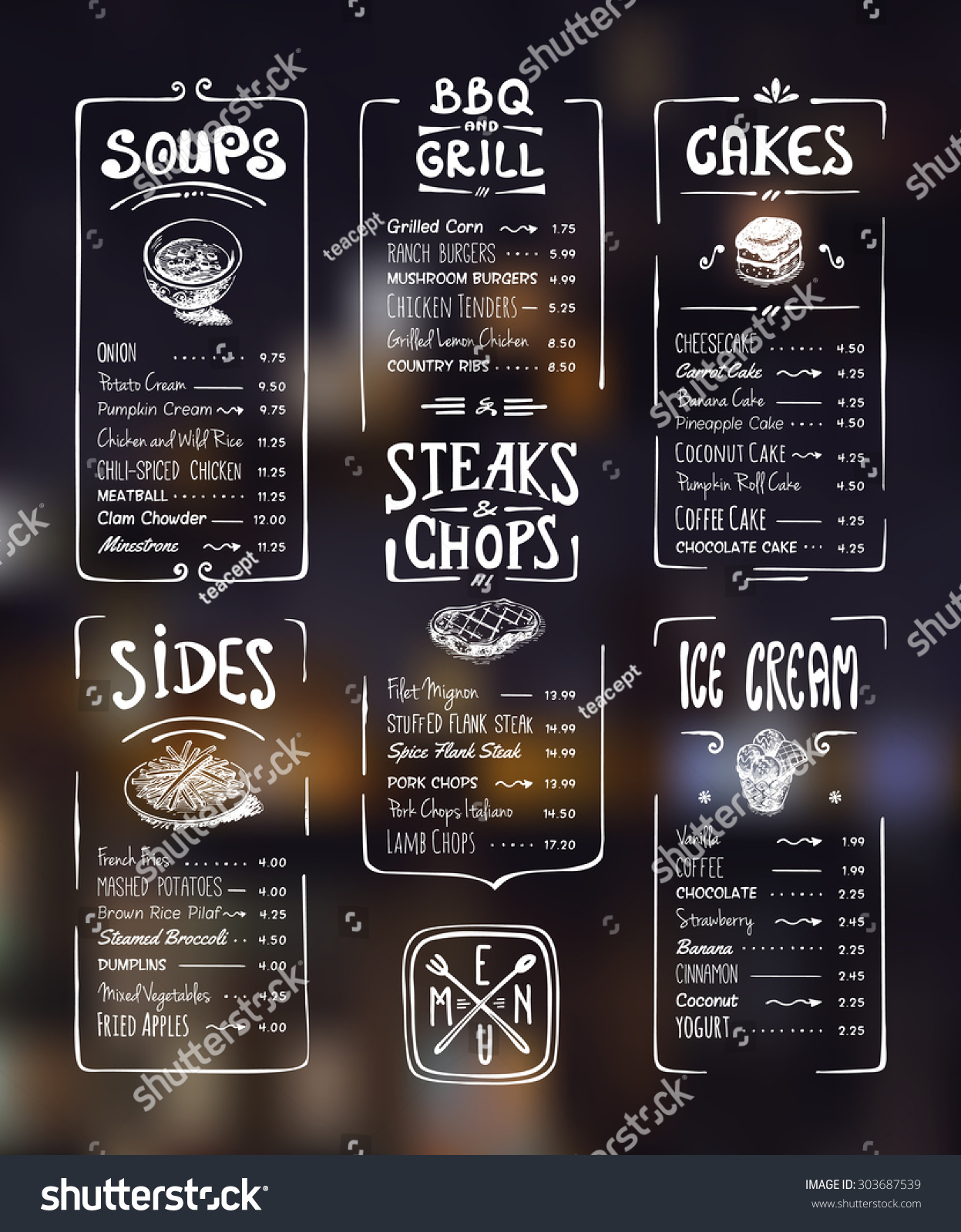 menu template white drawing on dark stock vector royalty free
